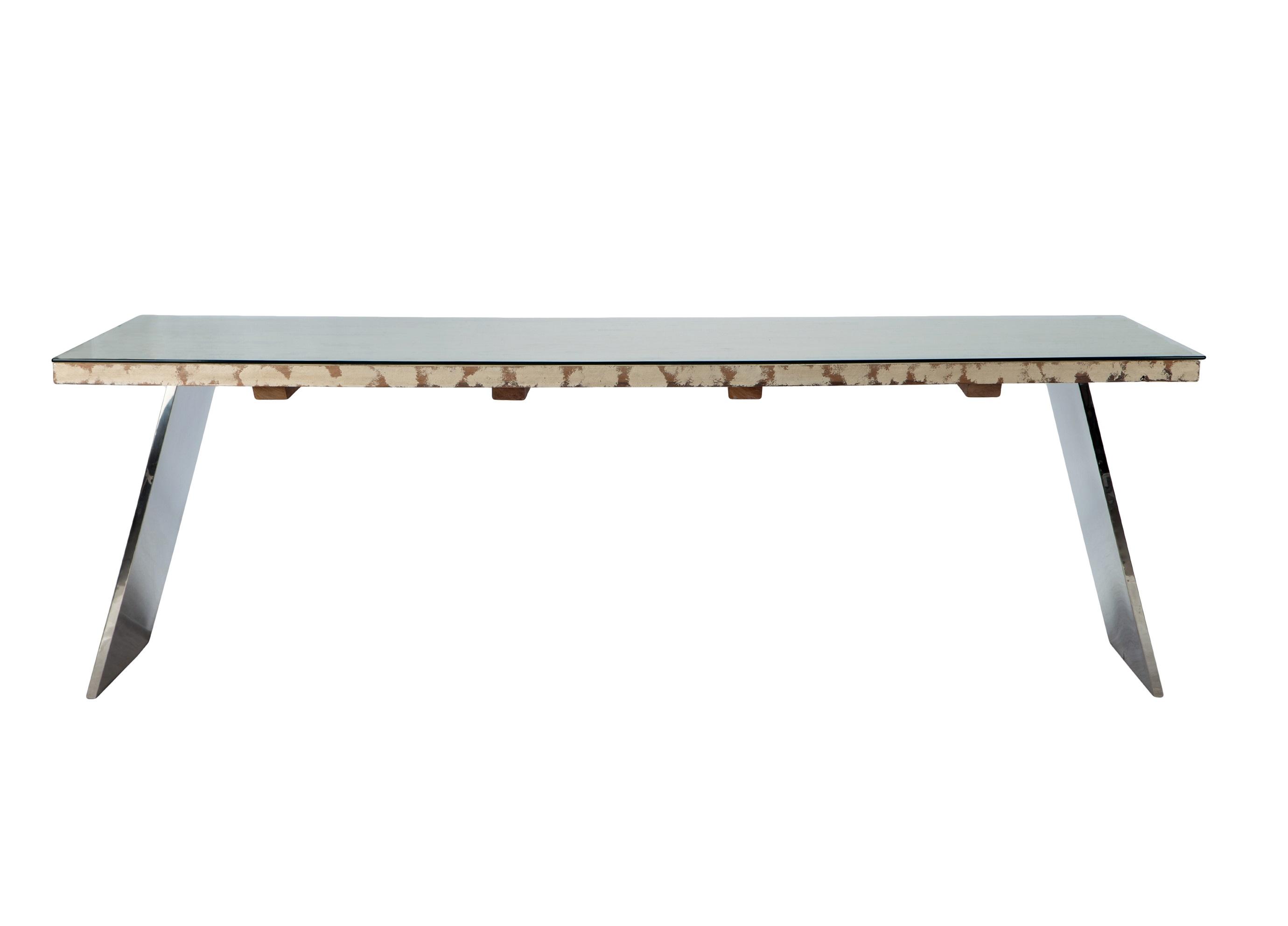 СтолОбеденные столы<br>Стол прямоугольный на двух ножках из стали со столешницей из тика в стиле корабельного дерева, со стеклом.<br><br>Material: Стекло<br>Length см: None<br>Width см: 241<br>Depth см: 101<br>Height см: 78