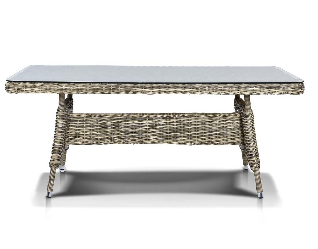 Стол ВенетоСтолы и столики для сада<br>Стол со стеклянной столешницей толщиной 8мм, алюминиевый каркас<br><br>Material: Ротанг<br>Length см: None<br>Width см: 180<br>Depth см: 100<br>Height см: 75