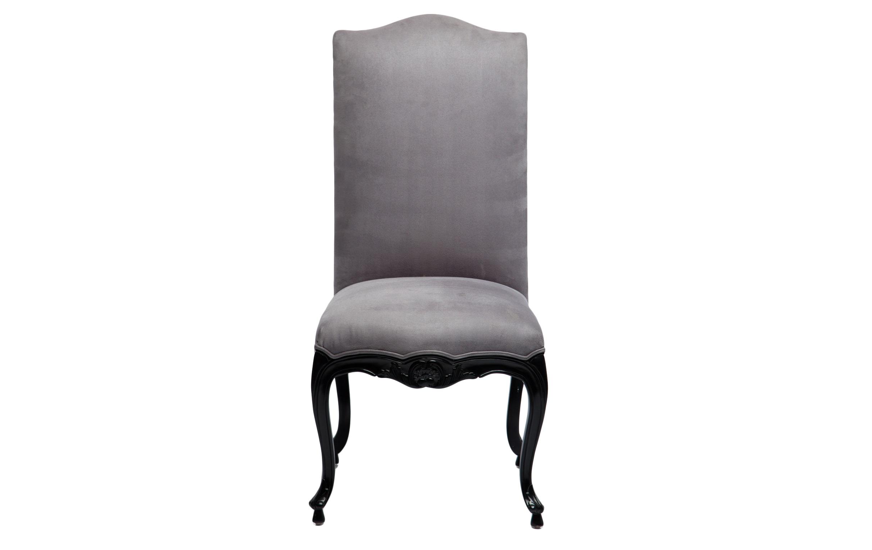 Стул СаллиОбеденные стулья<br>Стул из дерева махагони с мягкой спинкой, украшен резьбой.&amp;amp;nbsp;<br><br>Material: Замша<br>Ширина см: 69<br>Высота см: 114<br>Глубина см: 54