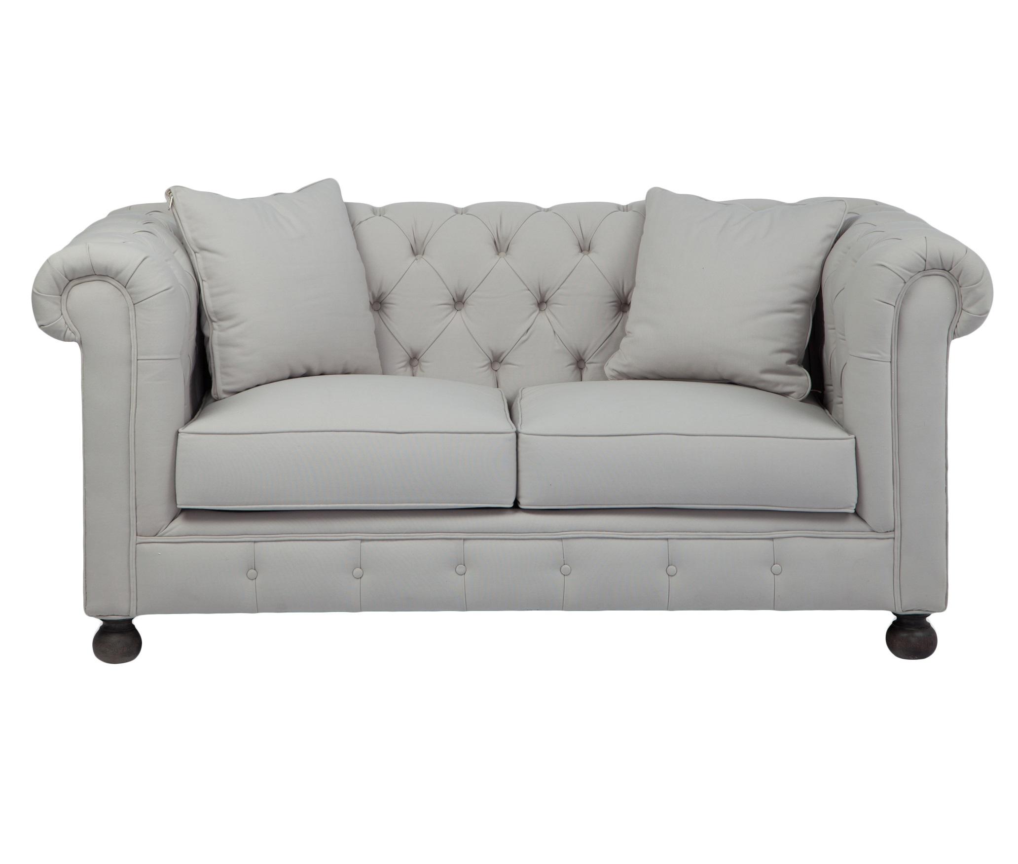 Софа ЧестерфилдДвухместные диваны<br>Классическая модель, декорированная в технике капитоне, серо-голубая обивка, круглые ножки цвета венге.<br><br>Material: Текстиль<br>Width см: 180<br>Depth см: 93<br>Height см: 83