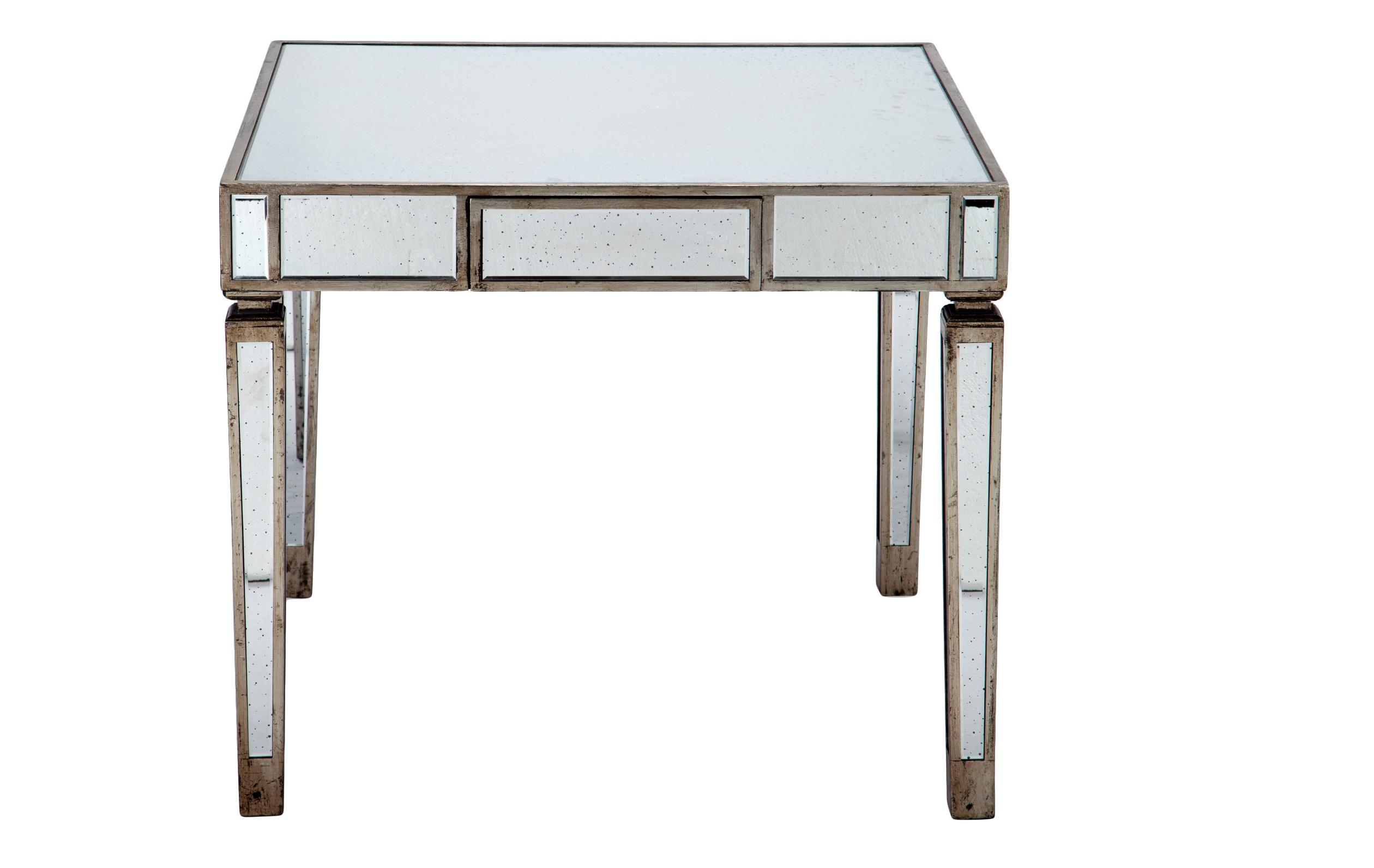 Стол зеркальныйОбеденные столы<br>Стол квадратный из состаренного зеркального стекла на высоких ножках с выдвижным ящиком.<br><br>Material: Стекло<br>Width см: 107<br>Depth см: 107<br>Height см: 91