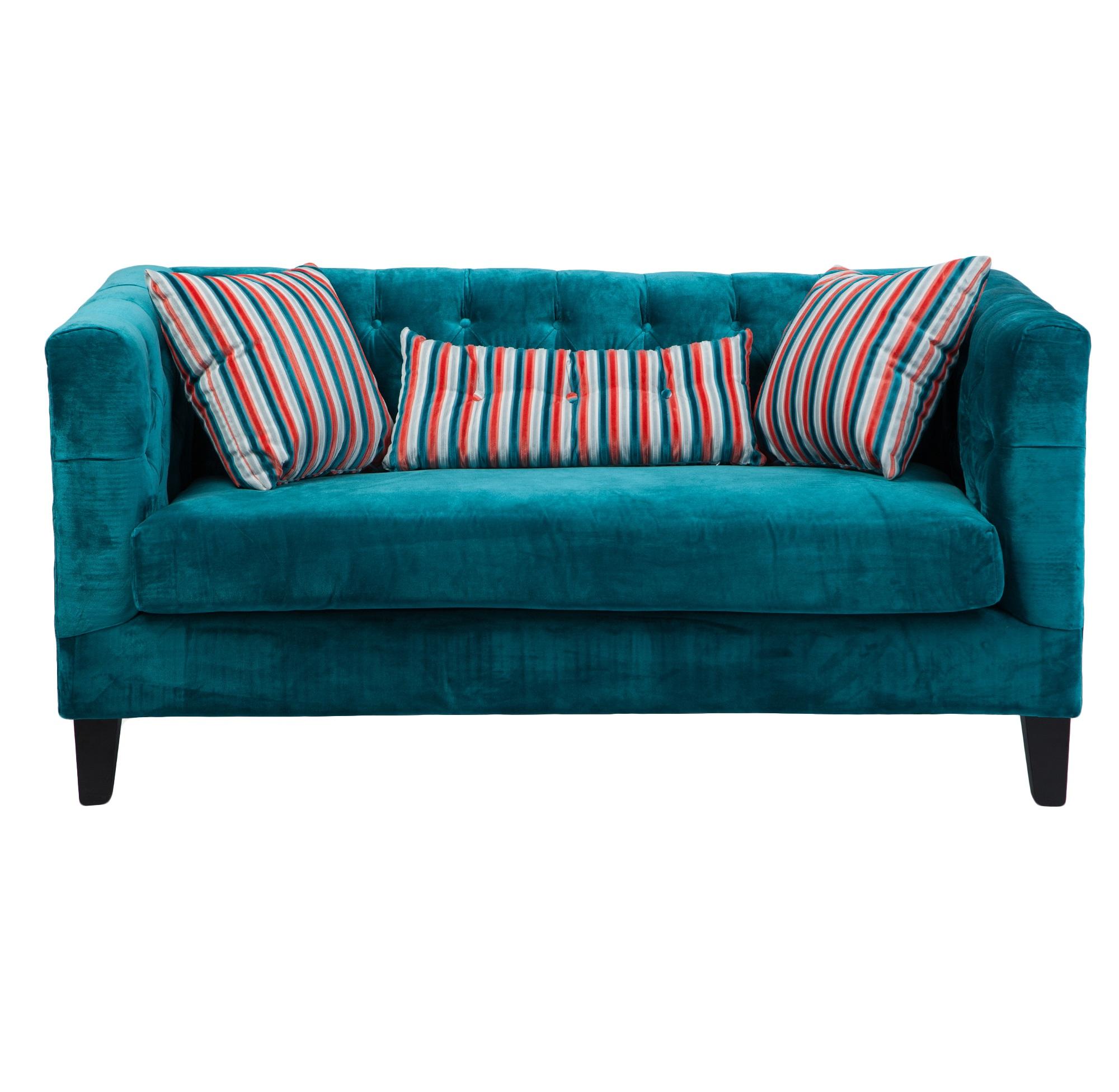 ДиванДвухместные диваны<br>В комплекте 3 подушки в яркую полоску.<br><br>Material: Велюр<br>Width см: 162<br>Depth см: 80<br>Height см: 78
