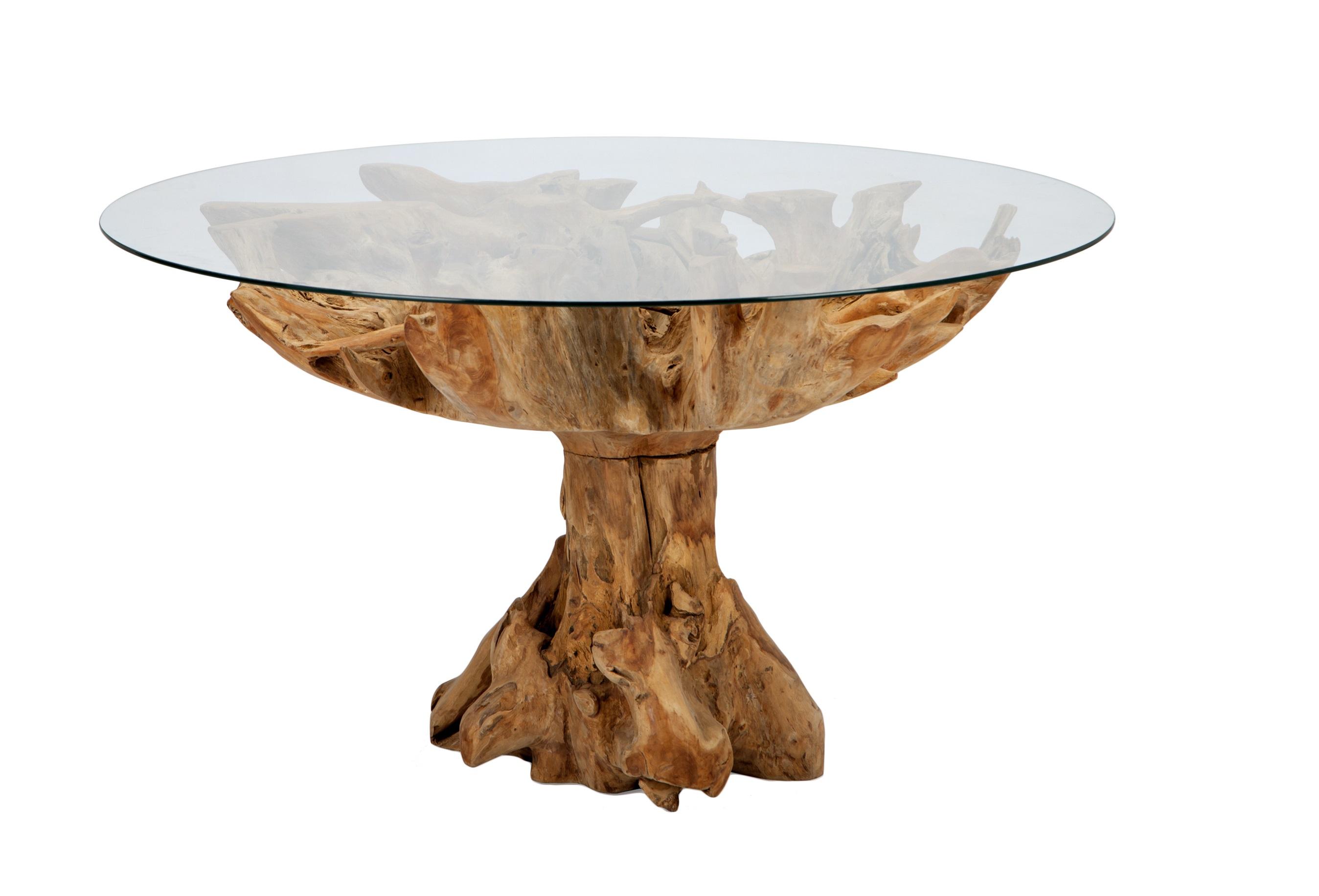 Стол обеденныйОбеденные столы<br>Стол из состаренного дерева со столешницей из прозрачного стекла.<br><br>Material: Стекло<br>Height см: 80<br>Diameter см: 110