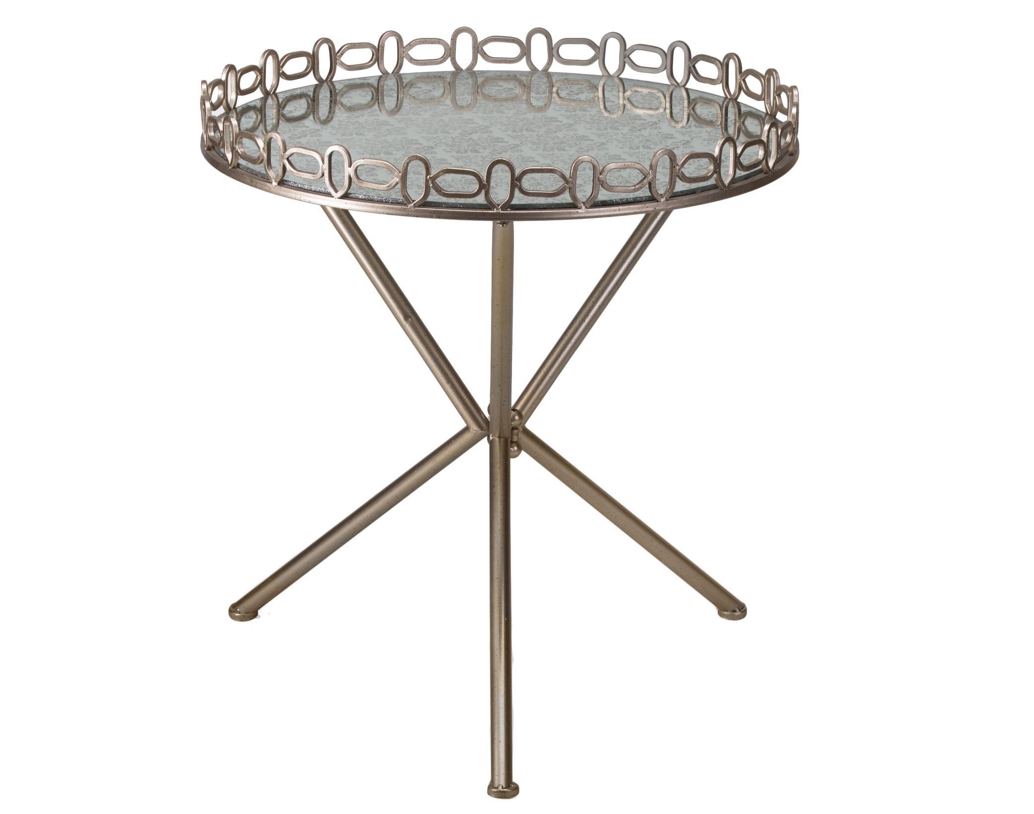 СтоликКофейные столики<br>Круглый столик на металлической ножке, столешница с узором по зеркалу.<br><br>Material: Металл<br>Length см: None<br>Height см: 67<br>Diameter см: 61