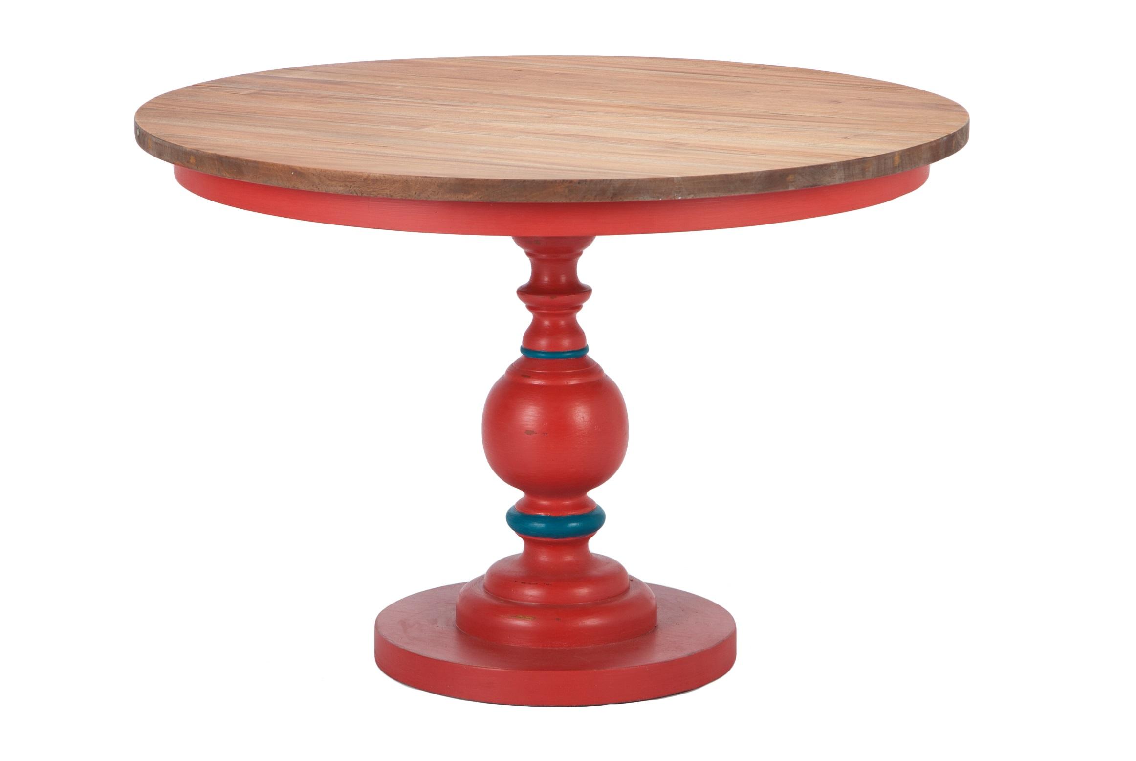 Стол обеденныйОбеденные столы<br>Стол обеденный на резной ножке из дерева махагони. Столешница натурального цвета дерева, ножка красного цвета с синими кольцами, декорирована старением.<br><br>Material: Красное дерево<br>Height см: 76<br>Diameter см: 112