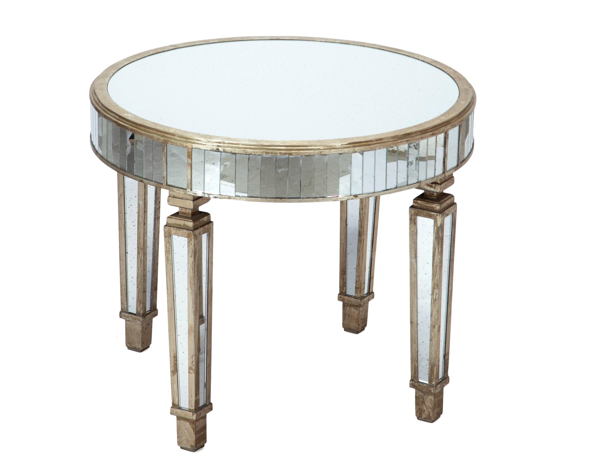 СтолПриставные столики<br>Стол круглый зеркальный на четырех ножках. Столешница украшена вставками из зеркального стекла и старением.<br><br>Material: Стекло<br>Height см: 77<br>Diameter см: 91