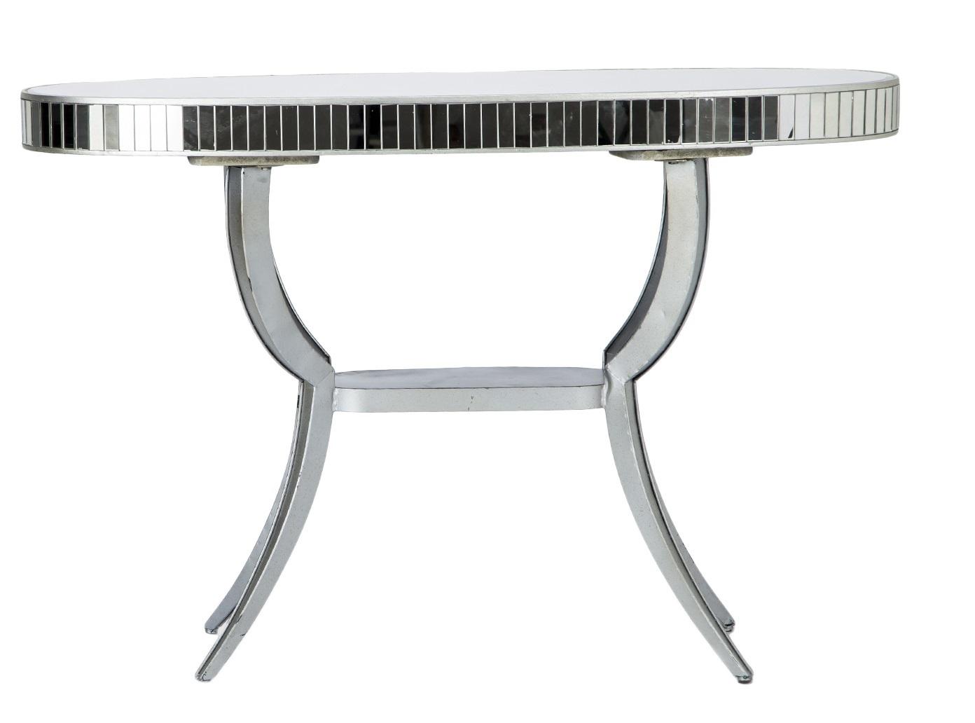 Консоль овальнаяИнтерьерные консоли<br>Консоль с овальной столешницей из зеркала, декорирована зеркальными вставками, на металлическом основании.<br><br>Material: Металл<br>Ширина см: 138<br>Высота см: 92<br>Глубина см: 51
