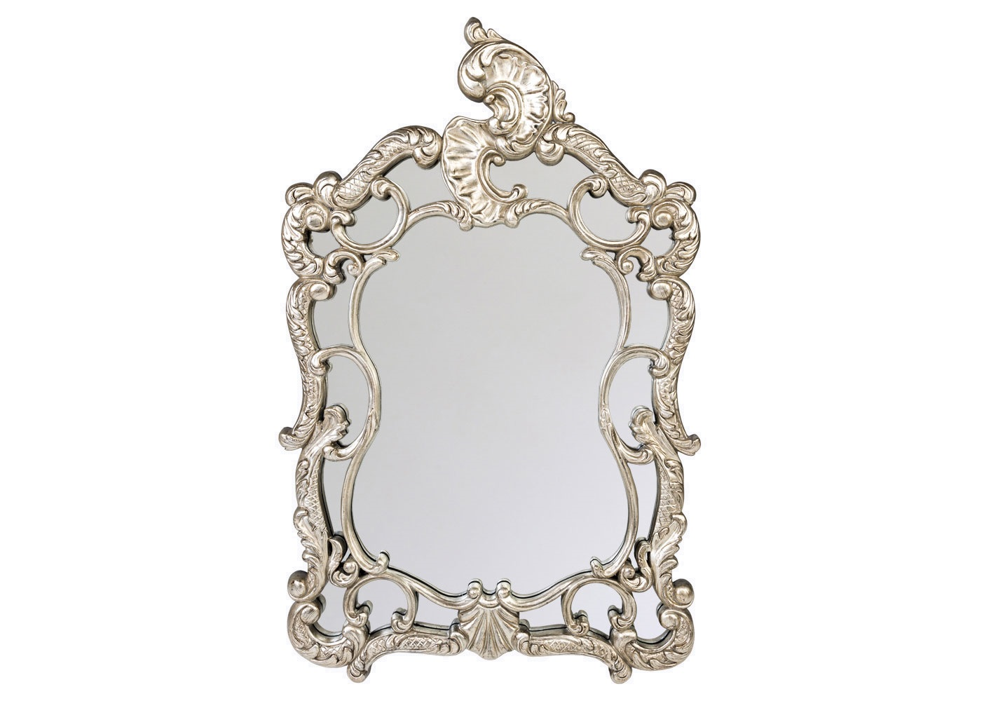 Настенное зеркало КардиналеНастенные зеркала<br>Дворцовый статус зеркала &amp;quot;Кардинале&amp;quot; подчеркнут его величественной формой, напоминающей древний дворянский герб. Являясь прямым наследником классического ренессанса, зеркало &amp;quot;Кардинале&amp;quot; не чуждо интерьерам в жанрах ампира, рококо, барокко, романского стиля,  &amp;quot;ар-деко&amp;quot;.<br>Зеркало покрыто серебряной амальгамой, имеет толщину 5 мм. Рама изготовлена из полиуретана. Полиуретан достоверно имитирует любые материалы. На первый взгляд оправа зеркала &amp;quot;Кардинале&amp;quot; не отличается от металлической.<br><br>Material: Полиуретан<br>Width см: 88<br>Depth см: 6.5<br>Height см: 135