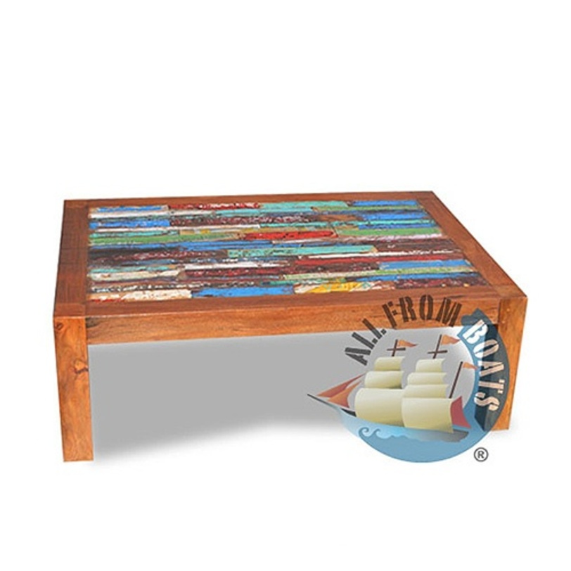 Стол журнальный  Finger 100Журнальные столики<br>Прямоугольный, журнальный стол выполнен из элементов старых лодок, оригинальные цвета, покрыт шеллаком.<br><br>Material: Дерево<br>Ширина см: 100.0<br>Высота см: 40.0<br>Глубина см: 65.0