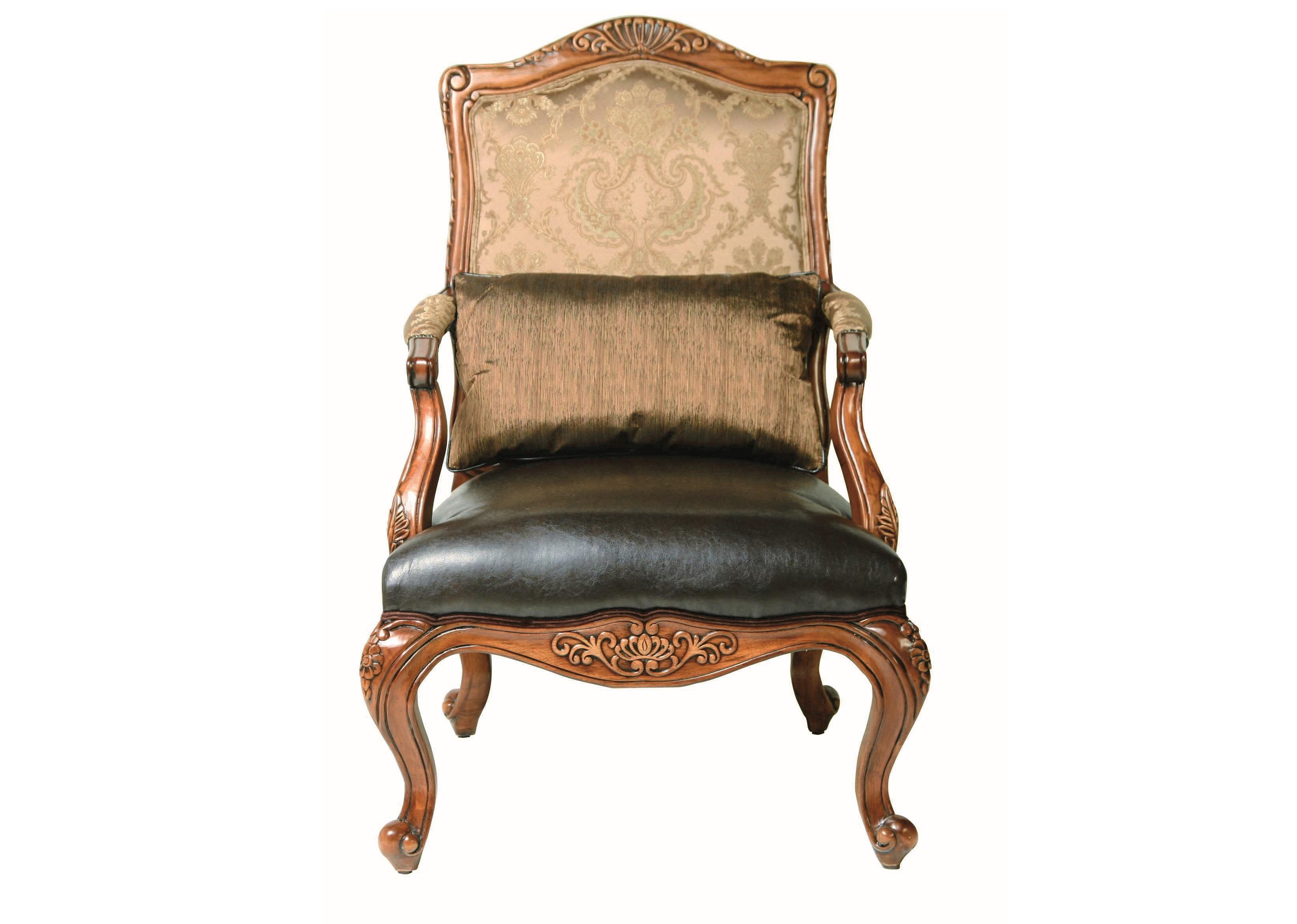 КреслоКожаные кресла<br>Кресло в классическом стиле. Выполнено на каркасе из натуральной древесины. Высокая спинка предлагается в текстильной обивке . Мягкое сиденья обито натуральной кожей. Для создания наибольшего комфорта модель дополнена декоративной подушкой под поясницу. Изделие украшено резьбой (ручная работа).<br><br>Material: Кожа<br>Width см: 81<br>Depth см: 74<br>Height см: 119