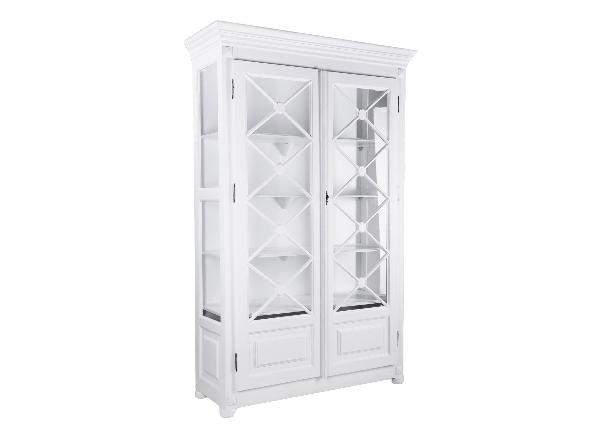 Библиотека «Адам»Книжные шкафы и библиотеки<br>Библиотека (витрина) в классическом стиле. Декорированные дверцы со стеклом, стекло по бокам. Цвет белый. Запирается на ключ.<br><br>Material: Красное дерево<br>Width см: 131<br>Depth см: 48<br>Height см: 220