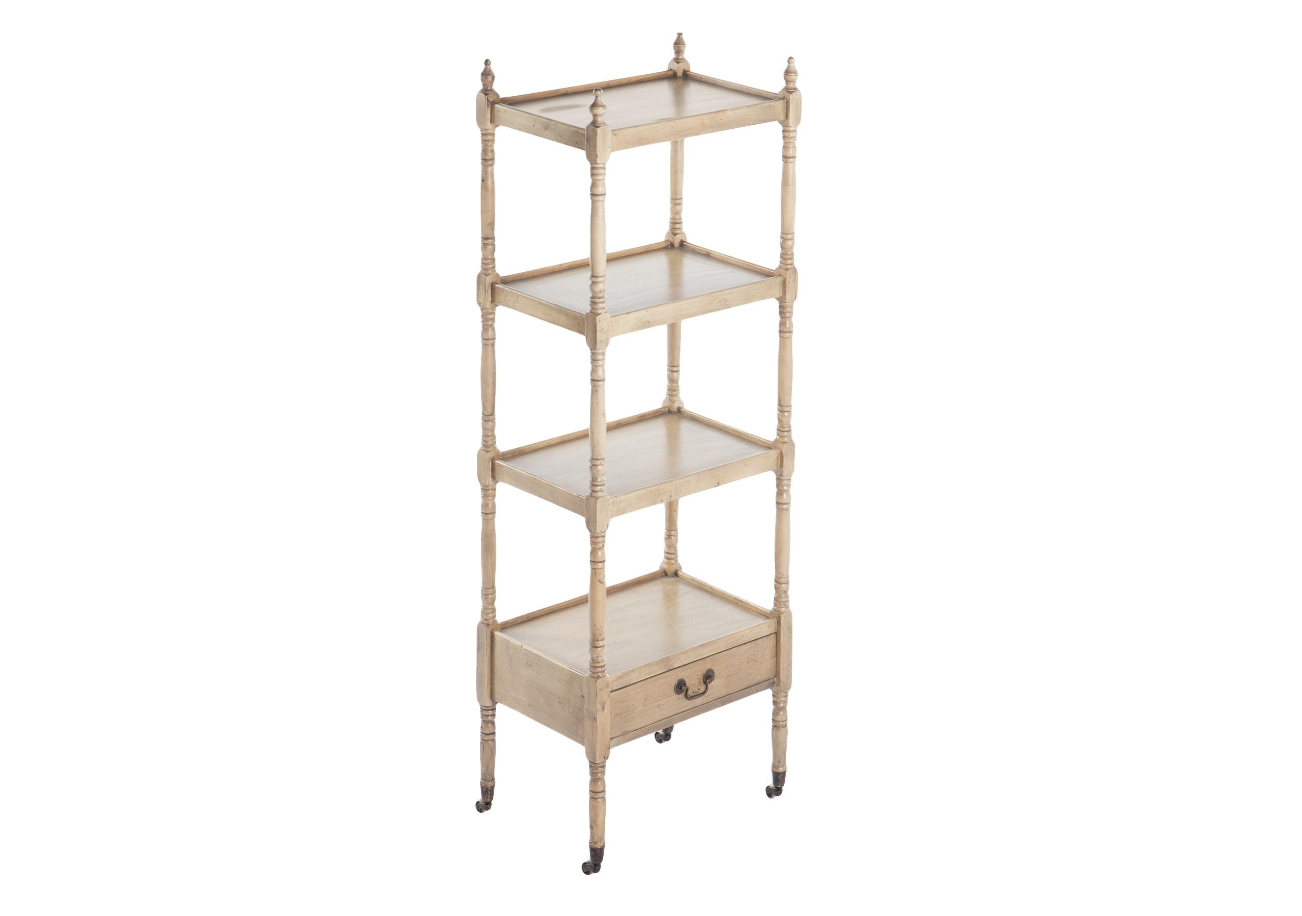 Этажерка передвижнаяСтеллажи и этажерки<br>Резная этажерка на колесиках с одним выдвижным ящиком.<br><br>Material: Береза<br>Width см: 50<br>Depth см: 35<br>Height см: 142