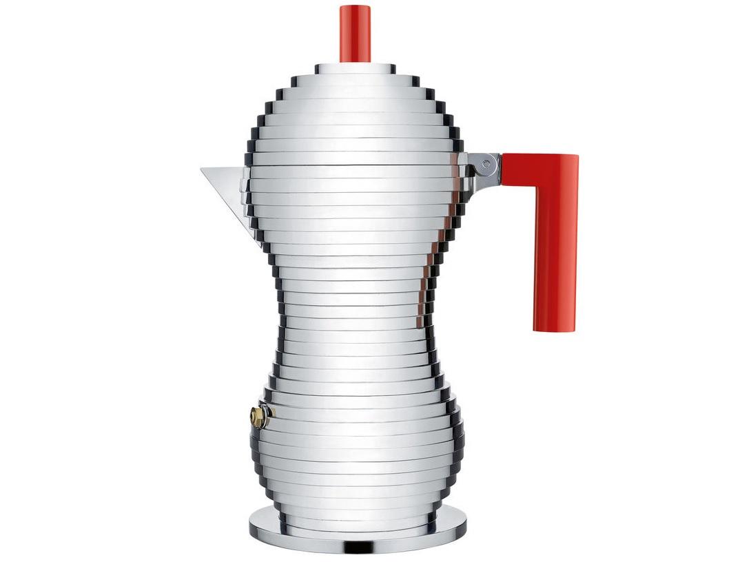 Кофеварка для эспрессо PulcinaЧайники<br>Гейзерная кофеварка для эспрессо от архитектора и дизайнера Микеле де Лукки — признанного мастера итальянского постмодернизма. Кофеварка появилась на свет в результате объединения высокого дизайна с технологиями Illycaffe (одного из известнейших кофейных брендов современности). В ее основу легли результаты масштабных исследований, в ходе которых была изучена взаимосвязь между формой емкости для варки кофе и вкусом готового напитка. <br><br>Благодаря специальному внутреннему элементу Pulcina автоматически прекращает процесс подачи воды из нижней части в верхнюю в строго определенный момент. Этот механизм позволяет предотвратить появление жженого горьковатого привкуса в готовом напитке, а также избежать разбрызгивания в процессе варки. А продуманная форма носика не позволит пролиться мимо чашки ни одной капле кофе.&amp;lt;div&amp;gt;&amp;lt;br&amp;gt;&amp;lt;/div&amp;gt;&amp;lt;div&amp;gt;Покрытие: алюминий.&amp;lt;/div&amp;gt;&amp;lt;div&amp;gt;Не подходит для индукционных плит.&amp;lt;/div&amp;gt;&amp;lt;div&amp;gt;Объем: 300 мл (на 6 чашек эспрессо).&amp;lt;/div&amp;gt;&amp;lt;div&amp;gt;Дизайн: Michele De Lucchi.&amp;lt;/div&amp;gt;<br><br>Material: Металл<br>Width см: 20<br>Depth см: 12<br>Height см: 26