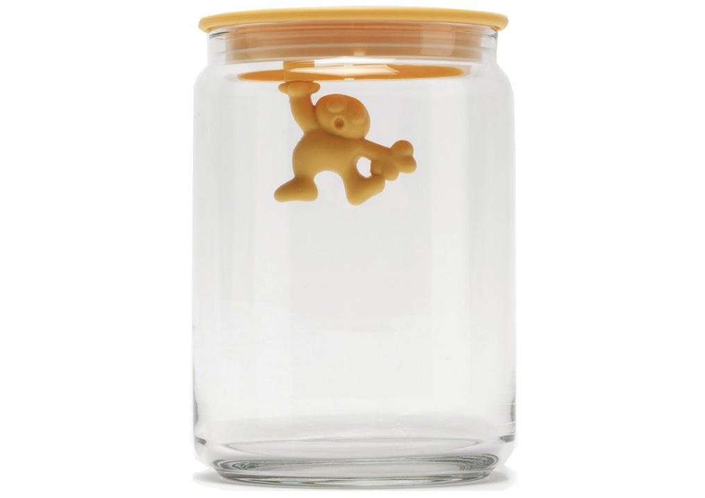 Емкость для хранения GianniБанки и бутылки<br>Емкость для хранения, дизайн которой сосредоточен не на наружней ее части, а на содержимом. Забавный резиновый человечек, который держится одной рукой за внутреннюю сторону крышки, был придуман итальянцем Маттио ди Росса — одним из самых юных дизайнеров, когда-либо творивших для Alessi. Емкость идеально подойдет для хранения кофе, чая, пасты и другой бакалеи: герметичная крышка надежно защитит продукты от влаги, выдыхания или заветривания.&amp;lt;div&amp;gt;&amp;lt;br&amp;gt;&amp;lt;/div&amp;gt;&amp;lt;div&amp;gt;&amp;lt;div&amp;gt;Материал: стекло.&amp;lt;/div&amp;gt;&amp;lt;div&amp;gt;Герметичная крышка из термопластичной резины.&amp;lt;/div&amp;gt;&amp;lt;div&amp;gt;Объем: 0,9&amp;amp;nbsp;л.&amp;lt;/div&amp;gt;&amp;lt;div&amp;gt;Дизайн: Mattia Di Rosa.&amp;lt;/div&amp;gt;&amp;lt;/div&amp;gt;<br><br>Material: Стекло<br>Width см: None<br>Depth см: None<br>Height см: 15<br>Diameter см: 10,5