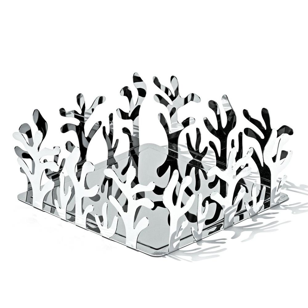Держатель для бумажных салфеток MediterraneoАксессуары для кухни<br>Элегантный держатель для бумажных салфеток от дизайнера и ювелира Эммы Сильвестрис. Входит в коллекцию Mediterraneo, изящные витиеватые линии которой были позаимствованы у морских кораллов. Изготовлен из цельного листа нержавеющей стали.<br>Ажурные формы, свойственные коллекции, подарили данному предмету особенную функциональность: салфетки очень удобно вынимать, подцепляя их через пространство между стальными «веточками». Благодаря крупным размерам подойдет для бумажных салфеток любого формата.&amp;lt;div&amp;gt;&amp;lt;br&amp;gt;&amp;lt;/div&amp;gt;&amp;lt;div&amp;gt;&amp;lt;div&amp;gt;Материал: нержавеющая сталь нержавеющая сталь с покрытием из эпоксидной резины.&amp;lt;/div&amp;gt;&amp;lt;div&amp;gt;Дизайн: Emma Silvestris.&amp;lt;/div&amp;gt;&amp;lt;/div&amp;gt;<br><br>Material: Металл<br>Width см: 20,5<br>Depth см: 20,5<br>Height см: 8,3