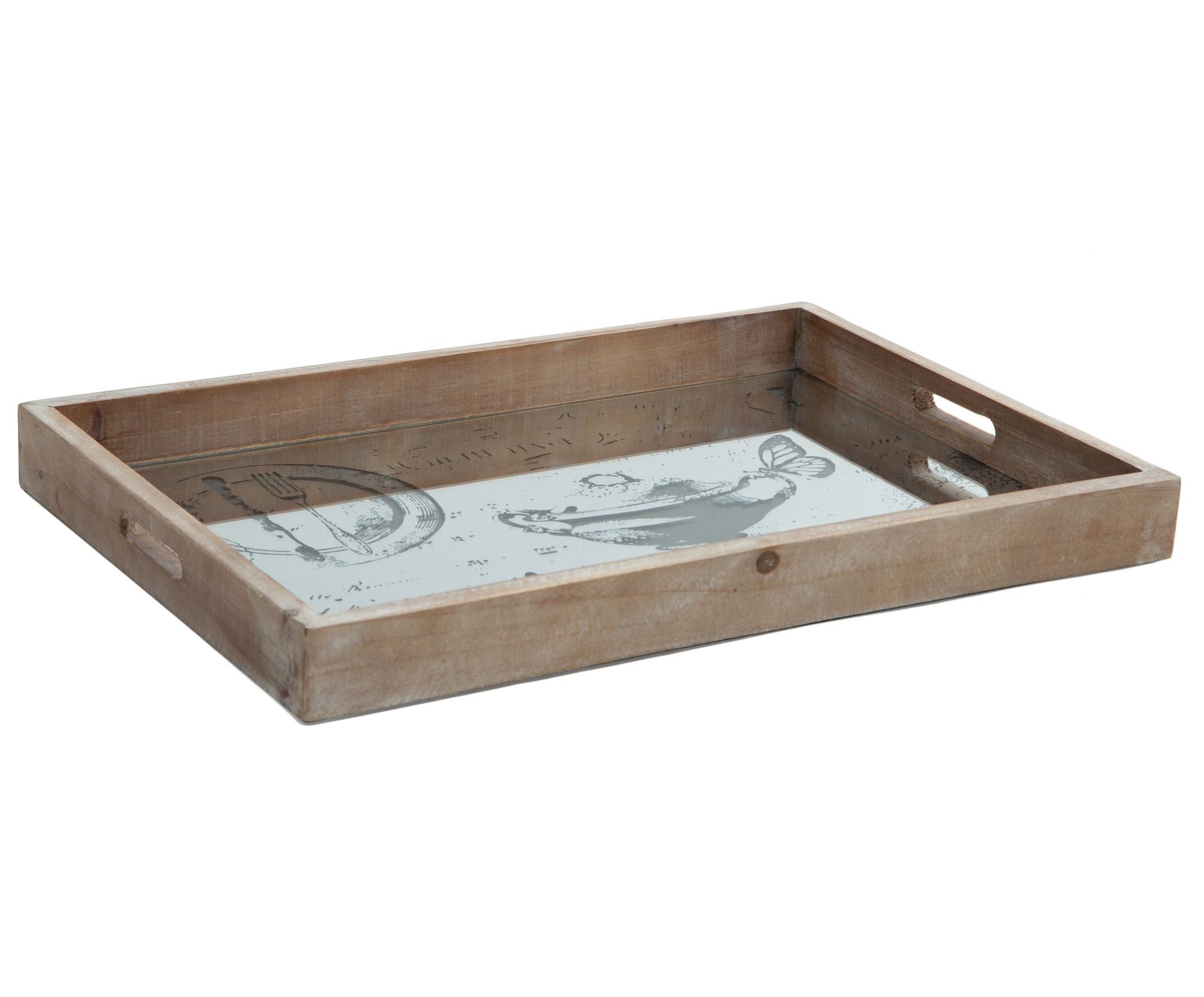 Поднос деревянныйДекоративные подносы<br>Поднос с деревянными бортиками и зеркальным дном с рисунком в ассортименте.<br><br>Material: Дерево<br>Length см: 53<br>Width см: 36