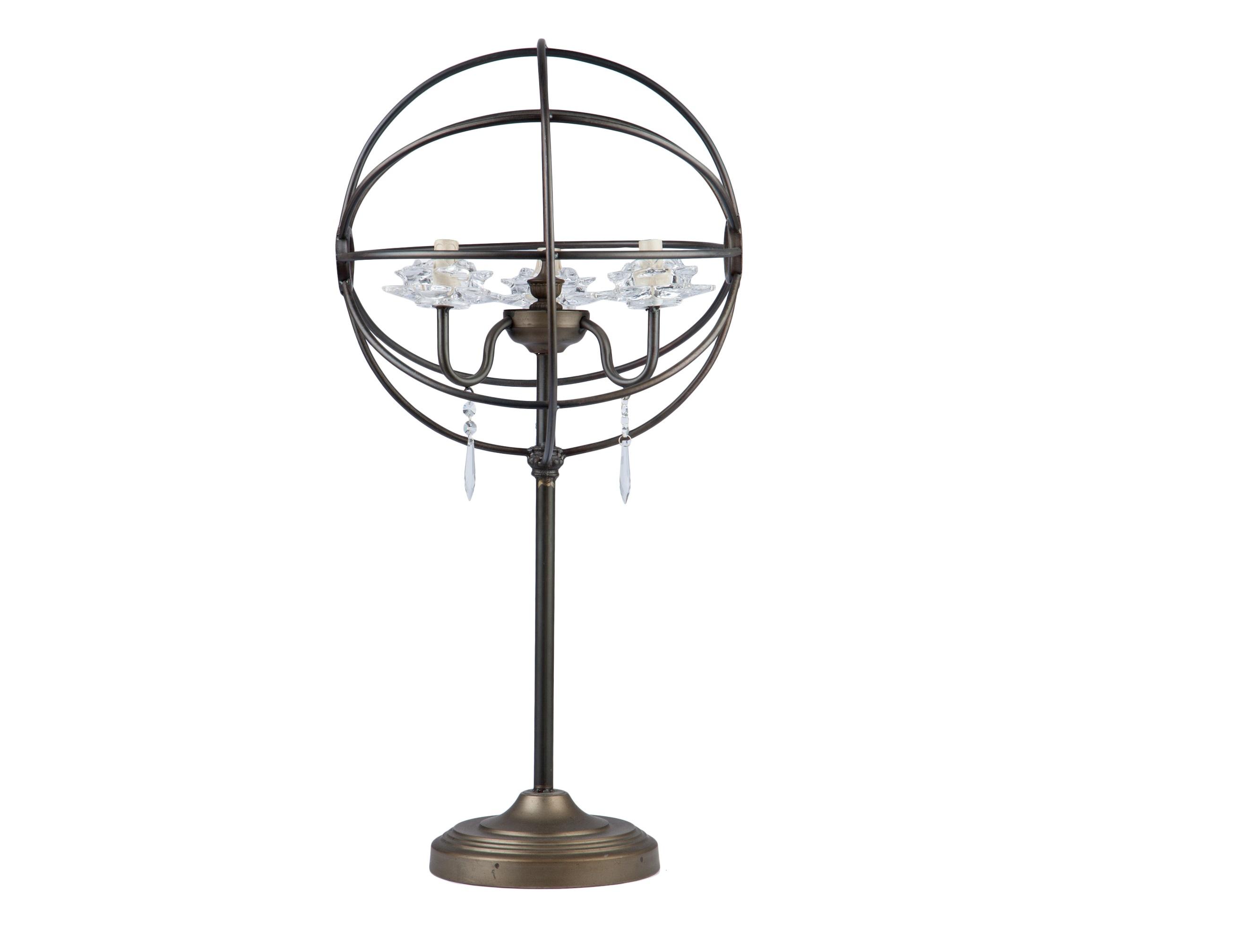 Лампа настольнаяДекоративные лампы<br>&amp;lt;div&amp;gt;Лампа в виде сферы из металла на высокой ножке, украшена стеклянным декором&amp;lt;/div&amp;gt;&amp;lt;div&amp;gt;&amp;lt;br&amp;gt;&amp;lt;/div&amp;gt;&amp;lt;div&amp;gt;Цоколь: E12&amp;lt;br&amp;gt;Мощность: 30W&amp;lt;/div&amp;gt;<br><br>Material: Металл<br>Height см: 81<br>Diameter см: 39