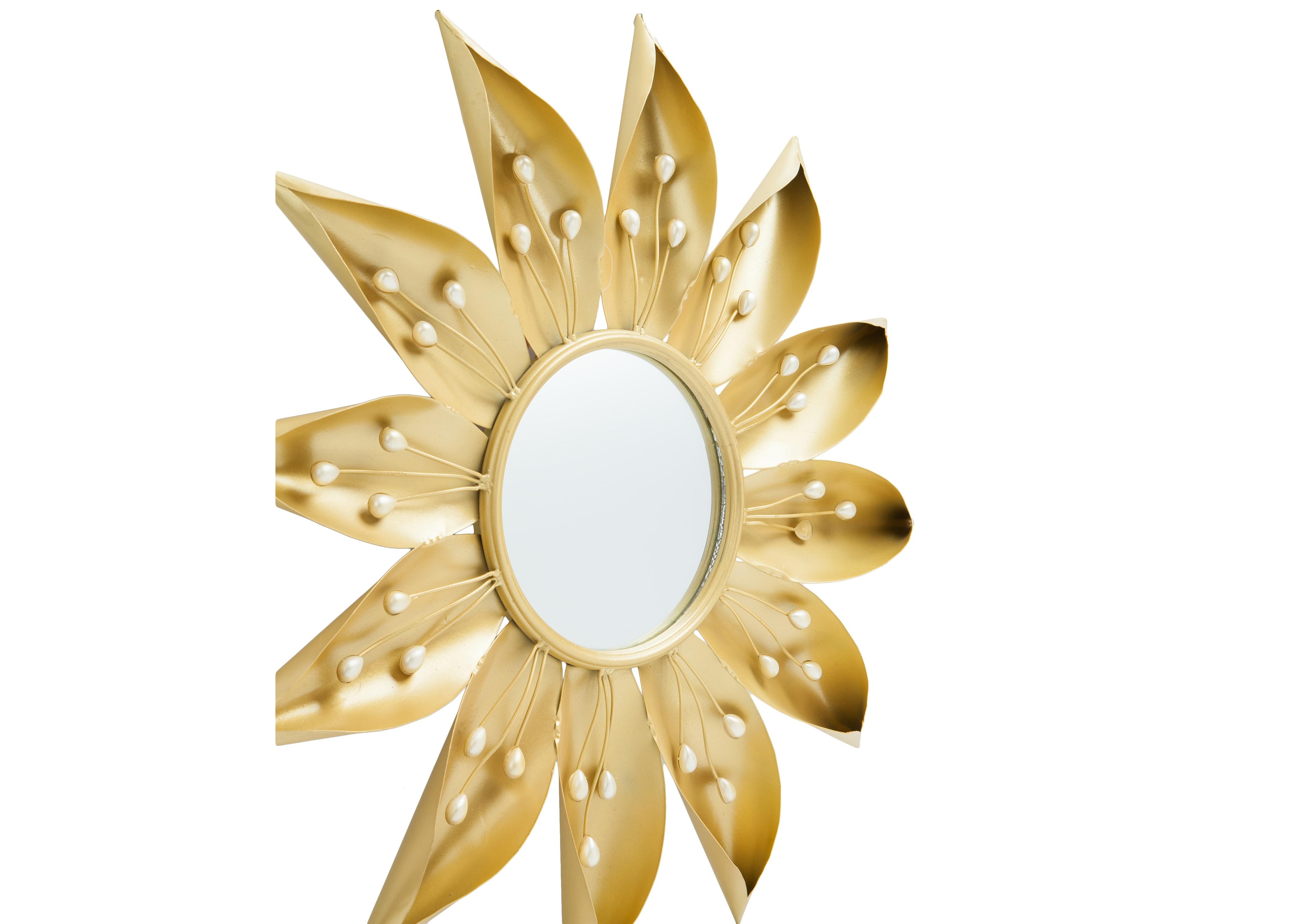 Зеркало ЦветокНастенные зеркала<br>Зеркало декоративное настенное в металлической раме в форме цветка.<br><br>Material: Металл<br>Depth см: 5<br>Diameter см: 62
