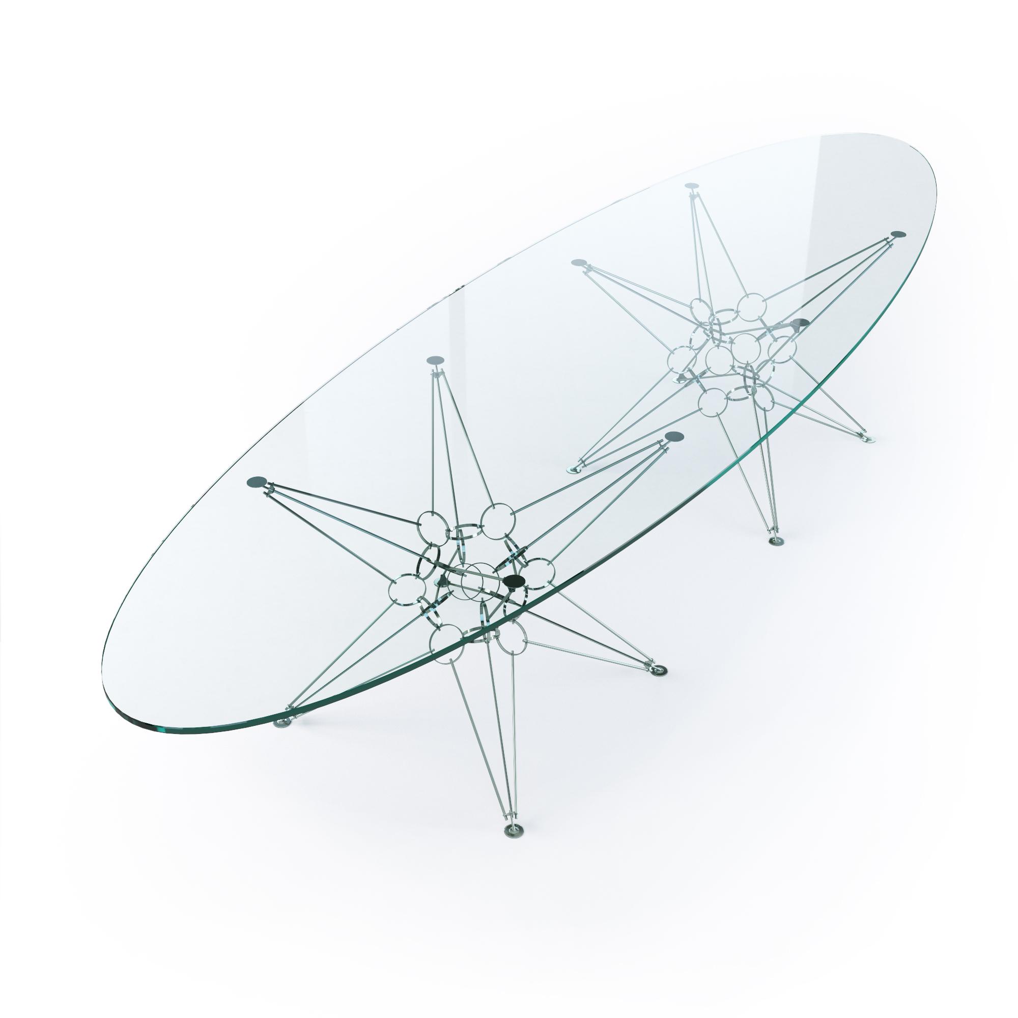 Стол TORPEDOОбеденные столы<br>&amp;lt;div&amp;gt;Материал столешницы: стекло закаленное, толщина 12 мм, Optiwhite.&amp;lt;div&amp;gt;Материал основания: хромированная сталь.&amp;lt;/div&amp;gt;&amp;lt;/div&amp;gt;&amp;lt;div&amp;gt;&amp;lt;/div&amp;gt;<br><br>Material: Металл<br>Length см: None<br>Width см: 294<br>Depth см: 107<br>Height см: 72