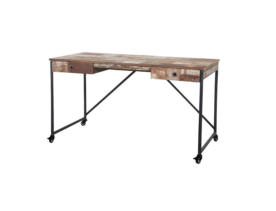 Стол письменный PureПисьменные столы<br>Тщательно подобранные кусочки антикварного тика в в комбинации с металлическими элементами создают уникальный образ коллекции PURE. Колеса добавляют мобильности и позволяют вам легко выстраивать любые конфигурации. Все колеса снабжены удобными стопорами.<br><br>Material: Тик<br>Length см: 0<br>Width см: 140<br>Depth см: 70<br>Height см: 78<br>Diameter см: 0