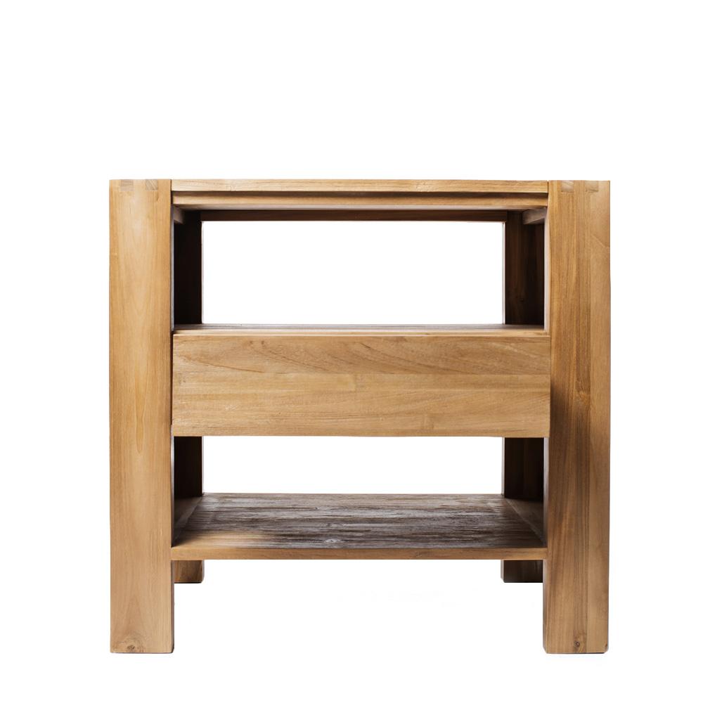 Тумба под раковину MaxТумбы для ванной<br>&amp;lt;div&amp;gt;Эта напольная тумба под раковину - пример типичного (в хорошем смысле) для мебели Karpenter симбиоза стиля и функциональности. Сочетает в себе строгость форм, выверенные пропорции и симпатичные дизайнерские решения, вроде просматриваемого шипового соединения боковых стенок и столешницы. Изготовлена из восстановленного тика, подвергнутого минимальной финишной обработке. Благодаря чему сохранился естественный цвет и фактурный узор древесины. MAX оснащена двумя большими открытыми полками и центральным выдвижным ящиком.&amp;amp;nbsp;&amp;lt;/div&amp;gt;&amp;lt;div&amp;gt;&amp;lt;br&amp;gt;&amp;lt;/div&amp;gt;&amp;lt;div&amp;gt;Такая тумба готова стать ярким, контрастным элементом отделанной в классических светлых тонах ванной комнаты. И наоборот – органично вписаться в приглушённые или тёмные интерьеры любителей экспериментировать.&amp;amp;nbsp;&amp;lt;/div&amp;gt;<br><br>Material: Тик<br>Ширина см: 80<br>Высота см: 75<br>Глубина см: 50