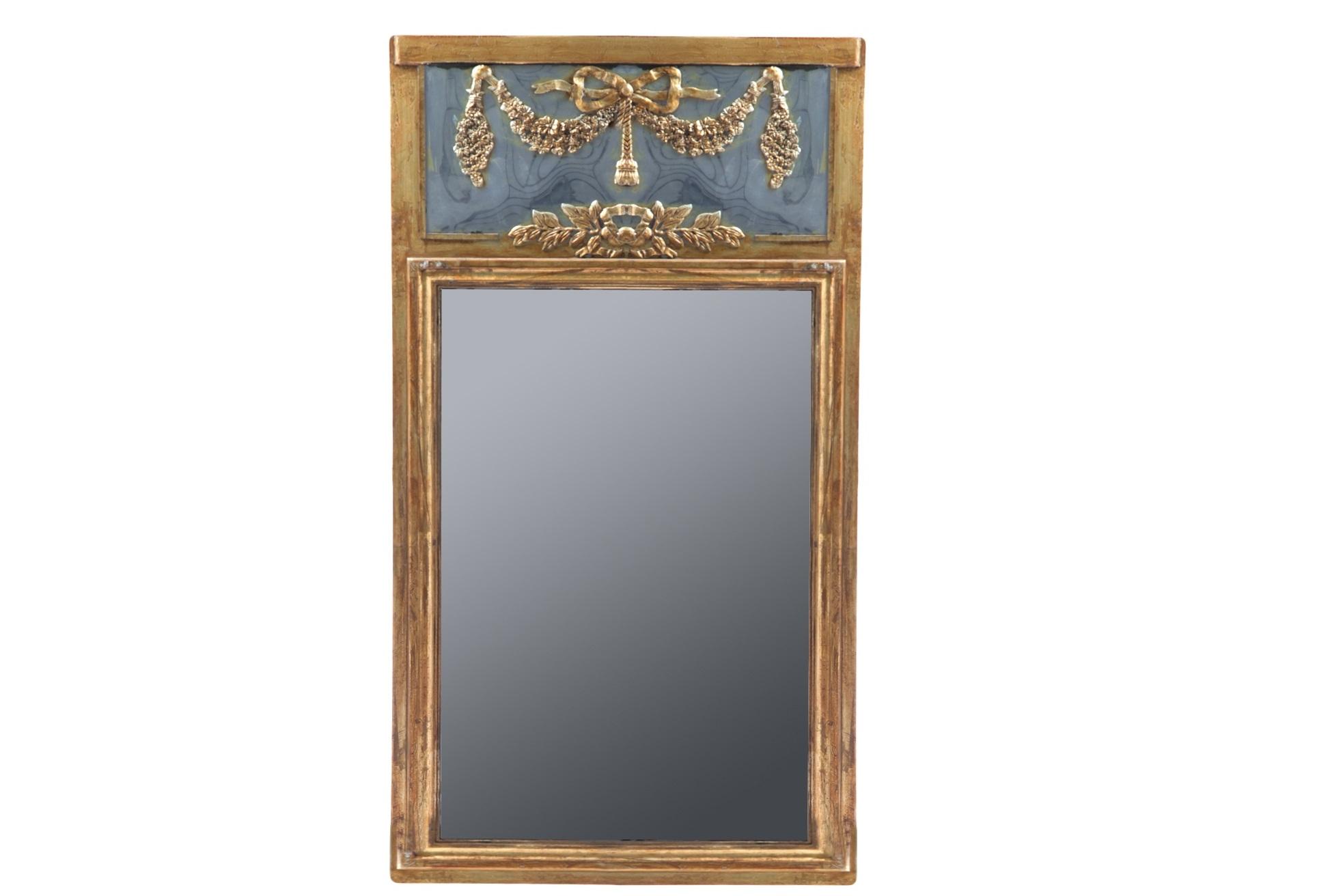 ЗеркалоНастенные зеркала<br>Декорированное винтажное зеркало в золотой состаренной раме в стиле прованс.<br><br>Material: МДФ<br>Ширина см: 75<br>Высота см: 151