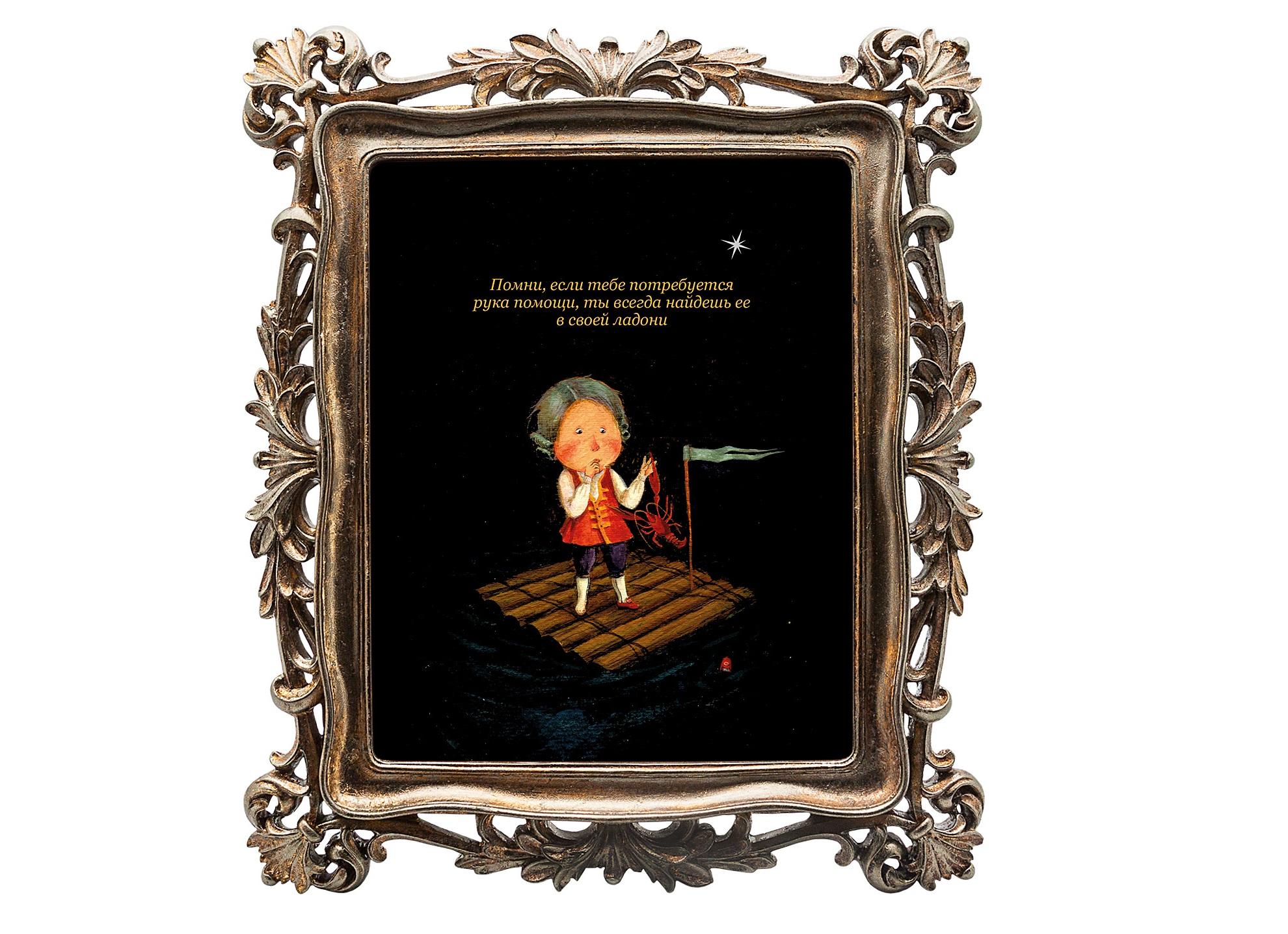 Картина 12 рецептов счастья (Рак)Картины<br>Картина из коллекции «12 рецептов счастья» «Помни, если тебе потребуется рука помощи, ты всегда найдешь ее в своей ладони» олицетворяет собой знак зодиака Рак, преподнося нам уникальное пожелание.  Картину можно повесить на стену, либо поставить, например, на стол или камин. Защитный стеклянный слой  гарантирует долгую жизнь прекрасному изображению. Рама изготовлена из полистоуна. Искусная техника состаривания придает раме особую теплоту и винтажность.&amp;lt;div&amp;gt;&amp;lt;br&amp;gt;&amp;lt;/div&amp;gt;&amp;lt;div&amp;gt;Материал: полистоун, стекло, дизайнерская бумага.&amp;lt;br&amp;gt;&amp;lt;/div&amp;gt;<br><br>Material: Полистоун<br>Ширина см: 29.7<br>Высота см: 34.7<br>Глубина см: 2.2