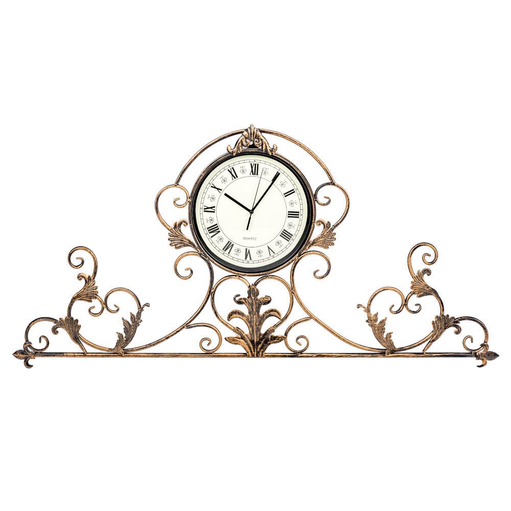 Настенные часы АртуаНастенные часы<br>Часы &amp;quot;Артуа&amp;quot; блещут ажурным орнаментом, достойным салонов &amp;quot;ар-деко&amp;quot;, классических интерьеров &amp;quot;рококо&amp;quot; и &amp;quot;ампира&amp;quot;. Эти часы обозначат эффектный фронтон над каминной полкой и консолью, секретером и кофейным столиком. Кружевной королевский узор богат настроением романтики и  уюта. &amp;quot;Артуа&amp;quot; - идеальный пример декоративных интерьерных часов. Для одних это часы, увенчанные рельефной оправой, для других - изысканное панно, снабженное часами.&amp;lt;div&amp;gt;&amp;lt;br&amp;gt;&amp;lt;/div&amp;gt;&amp;lt;div&amp;gt;&amp;lt;div&amp;gt;Тип батарейки: LR14 C 1,5 В.&amp;lt;/div&amp;gt;&amp;lt;div&amp;gt;Необходимое количество батареек: 1 шт.&amp;lt;br&amp;gt;&amp;lt;/div&amp;gt;&amp;lt;div&amp;gt;Батарейка в комплект не входит.&amp;lt;/div&amp;gt;&amp;lt;/div&amp;gt;<br><br>Material: Металл<br>Width см: 100<br>Depth см: 3<br>Height см: 47