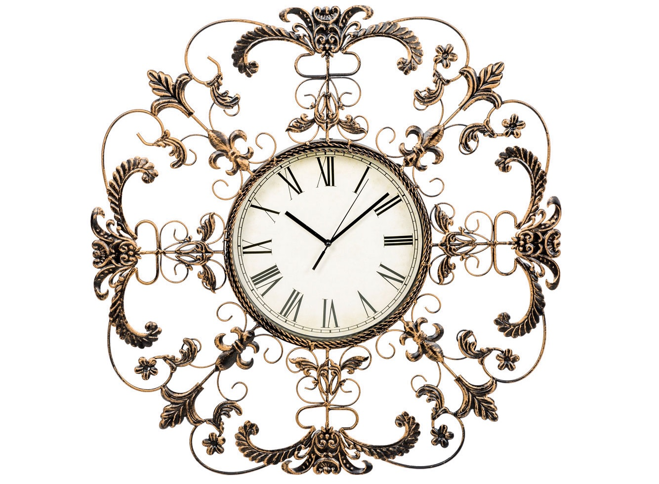 Настенные часы ЭвианНастенные часы<br>Часы &amp;quot;Эвиан&amp;quot; - щедрый дизайн, сочетающий практическую функцию часов с художественным потенциалом настенного панно. Дворцовый классицизм, предпочитающий растительные орнаменты, как правило, органичен любым интерьерным формулам. Дизайн, избравший прототипом природную форму цветка, обаятелен и романтичен. Рациональный размер адресует часы &amp;quot;Эвиан&amp;quot; большинству домашних помещений: гостиной, спальне, столовой, холлу, прихожей, детской комнате.&amp;lt;div&amp;gt;&amp;lt;br&amp;gt;&amp;lt;/div&amp;gt;&amp;lt;div&amp;gt;&amp;lt;div&amp;gt;Тип батарейки: LR14 C 1,5 В.&amp;lt;/div&amp;gt;&amp;lt;div&amp;gt;Необходимое количество батареек: 1 шт.&amp;lt;br&amp;gt;&amp;lt;/div&amp;gt;&amp;lt;div&amp;gt;Батарейка в комплект не входит.&amp;lt;/div&amp;gt;&amp;lt;/div&amp;gt;<br><br>Material: Металл<br>Width см: 60<br>Depth см: 3<br>Height см: 60