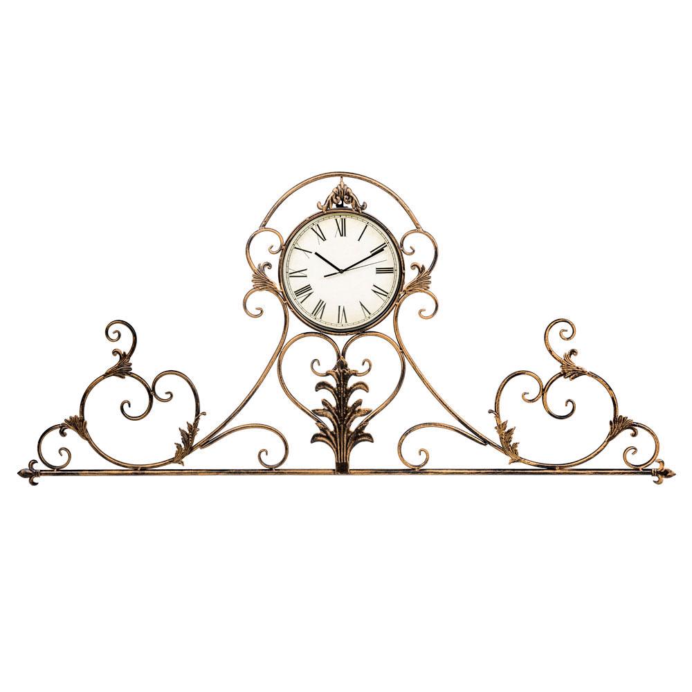 Настенные часы Вуаль-РужНастенные часы<br>Ведущую роль антикварного дизайна часов &amp;quot;Вуаль-Руж&amp;quot; несет изящный орнамент в почерке французского дворцового классицизма. Прозрачный узор эффектно подчеркнет как цветные обои, так и однотонные стены.  Интерьерные часы &amp;quot;Вуаль-Руж&amp;quot; достойны салонов &amp;quot;ар-деко&amp;quot;, классических интерьеров &amp;quot;рококо&amp;quot; и &amp;quot;ампира&amp;quot;. Часы, универсальные для любых домашних помещений, обозначат эффектный фронтон над каминной полкой и консолью, секретером и кофейным столиком.&amp;lt;div&amp;gt;&amp;lt;br&amp;gt;&amp;lt;/div&amp;gt;&amp;lt;div&amp;gt;&amp;lt;div&amp;gt;Тип батарейки: LR14 C 1,5 В.&amp;lt;/div&amp;gt;&amp;lt;div&amp;gt;Необходимое количество батареек: 1 шт.&amp;lt;/div&amp;gt;&amp;lt;div&amp;gt;Батарейка в комплект не входит.&amp;lt;/div&amp;gt;&amp;lt;/div&amp;gt;<br><br>Material: Металл<br>Width см: 134<br>Depth см: 3<br>Height см: 61