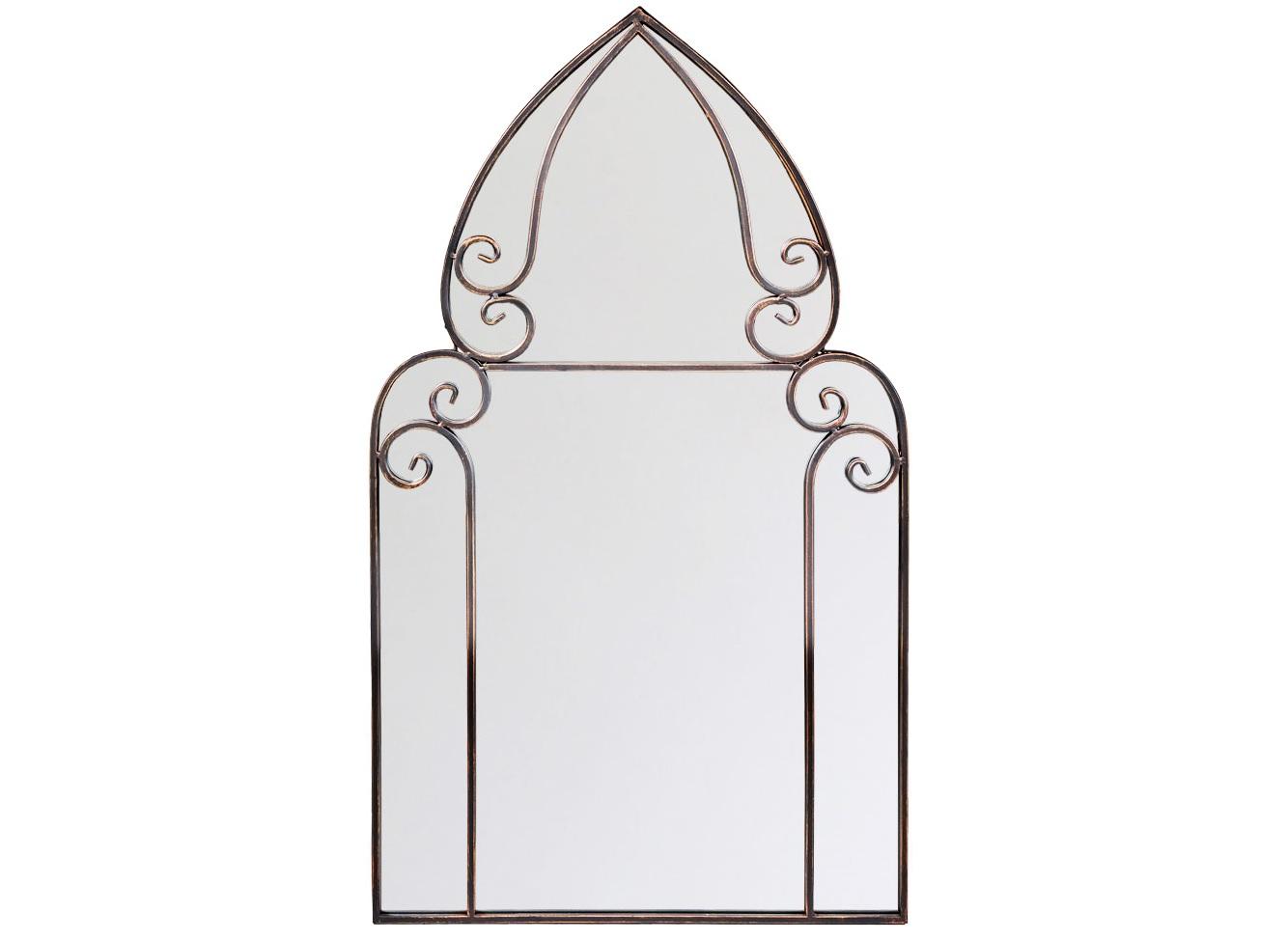Настенное зеркало ЖерминальНастенные зеркала<br>Зеркало &amp;quot;Жерминаль&amp;quot; продолжает древние романские традиции, излагая их почерком ультрамодного &amp;quot;лофта&amp;quot;. Двухъярусная грань рамы обогащает отражения, навевая предметам загадку и значимость. Купол верхнего яруса подчеркивает грацию и изящество. Зеркала, покрытые серебряной амальгамой, обладают идеально ровной поверхностью, не боятся влаги, они долговечны и не подвержены коррозии. Металлические рамы прочны, долговечны и неприхотливы в уходе.<br><br>Material: Металл<br>Width см: 54<br>Depth см: 3<br>Height см: 93