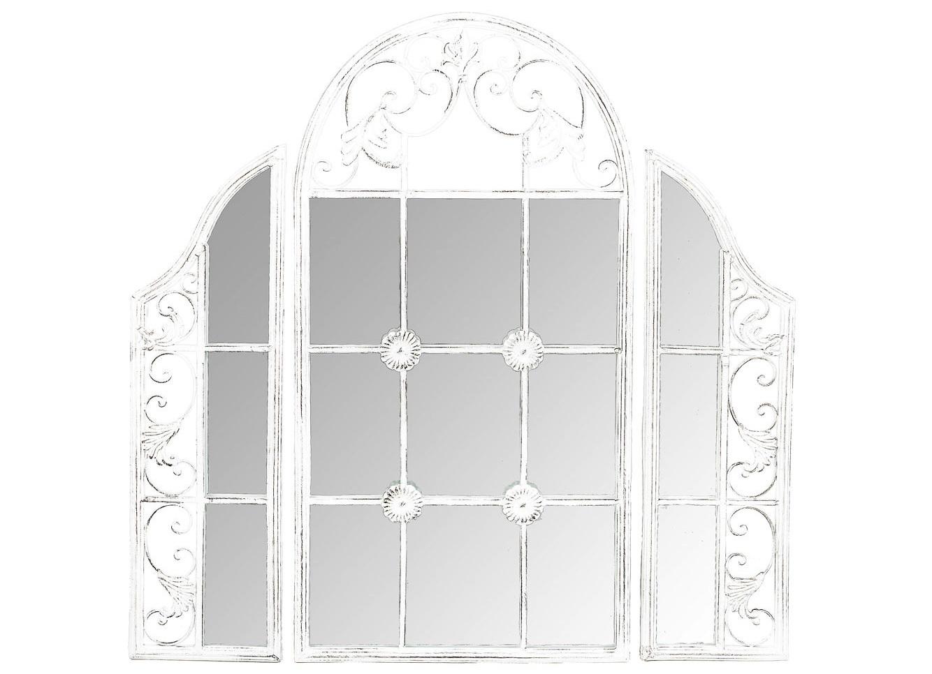 Настенное зеркало СильвестраНастенные зеркала<br>Зеркало &amp;quot;Сильвестра&amp;quot; с первого взгляда поглощает воображение, - поражает изобретательным дизайном, нарядившим ретро-трюмо в костюм ширмы и объединившим пышный дворцовый узор с японской экзотикой. Центральная грань зеркала имитирует оконную раму. Зеркальное &amp;quot;окно&amp;quot; - эффектный имидж старинного поместья, пронизанного атмосферой свежего воздуха и света. Решающую роль в этом дизайне играет кружевной орнамент: периметр зеркала украшен растительными узорами, выточенными с ювелирной меткостью.<br><br>Material: Металл<br>Width см: 85<br>Depth см: 2<br>Height см: 85.5