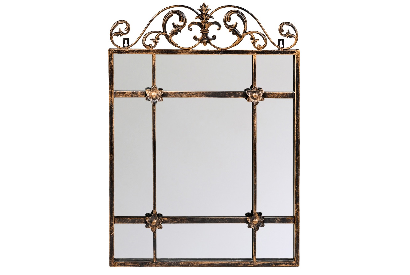 Настенное зеркало РавельНастенные зеркала<br>Элегантное и романтичное зеркало &amp;quot;Равель&amp;quot;, обладающее объемной внутренней рамой, придает отражениям эффект объемности и глубины. Эклектичный дизайн, наградивший лаконичный кельтский корпус роскошью дворцовых вензелей, наверняка впишется в палитры классических и авангардных интерьеров.  Грани металлических узоров искусственно состарены. Античные штрихи обладают специфическим обаянием и теплом. Классический цвет черненой бронзы заведомо гармоничен любому интерьерному фону.<br><br>Material: Металл<br>Width см: 50<br>Depth см: 4<br>Height см: 70