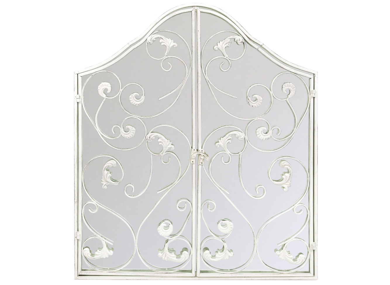 Настенное зеркало МонтанерНастенные зеркала<br>Зеркало &amp;quot;Монтанер&amp;quot;, подражающее воротам старинного замка, открывает Вашему интерьеру волну света и простора, романтики и классического европейского стиля, достойного изнеженных салонов &amp;quot;ар-деко&amp;quot;, престижных интерьеров &amp;quot;ампира&amp;quot; и &amp;quot;рококо&amp;quot;. Рама легко открывается с помощью обычного оконного засова. Узоры объемной рамы дорисовывают отраженные предметы, режиссируя сценарий поистине сказочного зазеркалья.<br><br>Material: Металл<br>Ширина см: 91.0<br>Высота см: 94.0<br>Глубина см: 8.0