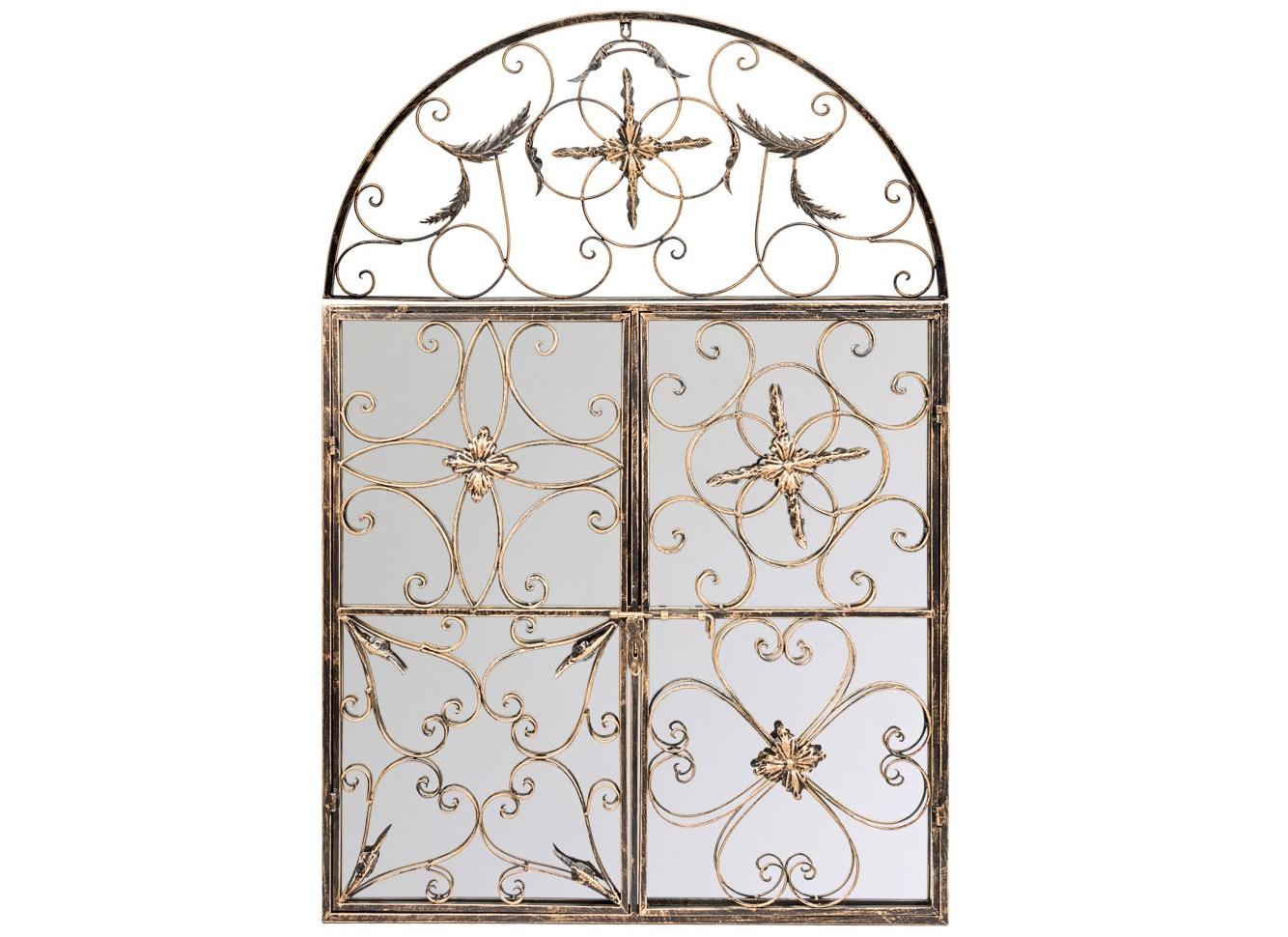 Настенное зеркало БизеНастенные зеркала<br>Арочное зеркало &amp;quot;Бизе&amp;quot;, имитирующее старинный оконный портал королевского замка, зачаровывает обилием кружевных орнаментов, вызывая при этом ощущение абсолютной легкости и света.  Узоры объемной рамы дорисовывают отраженные предметы, режиссируя сценарий поистине сказочного зазеркалья.  Дворцовый жанр, как правило, гармоничен большинству классических и авангардных интерьерных стилей. Грани металлических узоров искусственно состарены. Античные штрихи обладают специфическим обаянием и теплом.<br><br>Material: Металл<br>Ширина см: 86<br>Высота см: 125<br>Глубина см: 8
