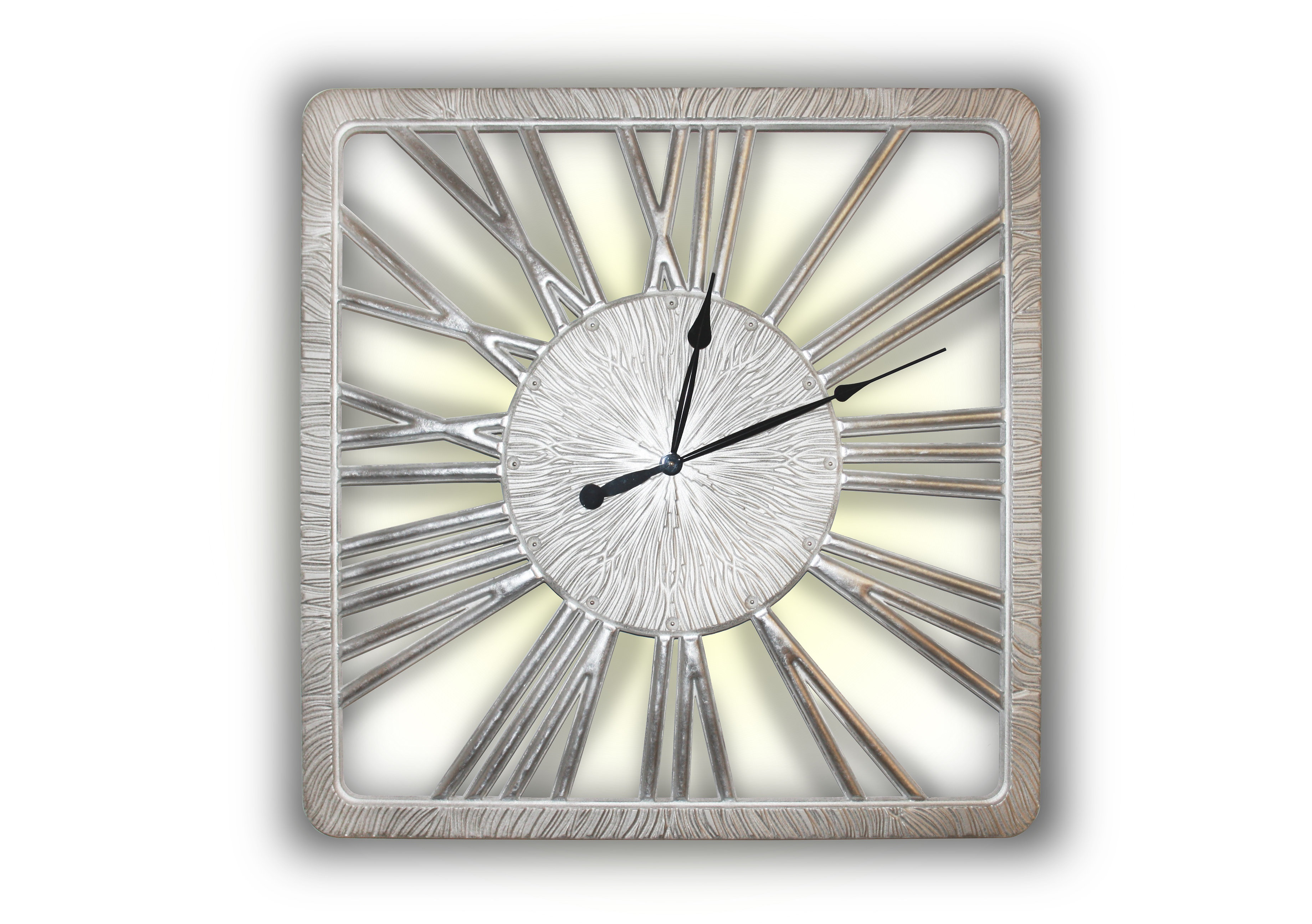 Часы TWINKLE NEWНастенные часы<br>Бег времени непрерывен. Можно ли ощутить, как одна минута переходит в другую? <br>Можно ли предсказать, что открывают нам движущиеся по кругу стрелки часов? <br>Светящиеся прорезные силуэты цифр помогают понять, что лучшее еще впереди. <br>Данный вариант представлен в цвете матовое серебро с покрытыми поталью цифрами.&amp;lt;div&amp;gt;&amp;lt;br&amp;gt;&amp;lt;/div&amp;gt;&amp;lt;div&amp;gt;Механизм: Кварцевый.&amp;lt;br&amp;gt;&amp;lt;/div&amp;gt;&amp;lt;div&amp;gt;&amp;lt;p class=&amp;quot;MsoNormal&amp;quot;&amp;gt;Товарное предложение оснащено светодиодной подсветкой.&amp;lt;o:p&amp;gt;&amp;lt;/o:p&amp;gt;&amp;lt;/p&amp;gt;&amp;lt;/div&amp;gt;<br><br>Material: Дерево<br>Ширина см: 90<br>Высота см: 90