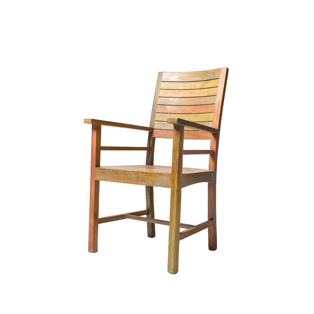 Стул  с подлокотниками CLAUDIA paintedСтулья с подлокотниками<br>Вариация популярного стула Claudia painted с подлокотниками для любителей комфорта. Возможно использование вне помещения после специальной обработки.<br><br>Material: Тик<br>Length см: None<br>Width см: 61<br>Depth см: 60<br>Height см: 105<br>Diameter см: None