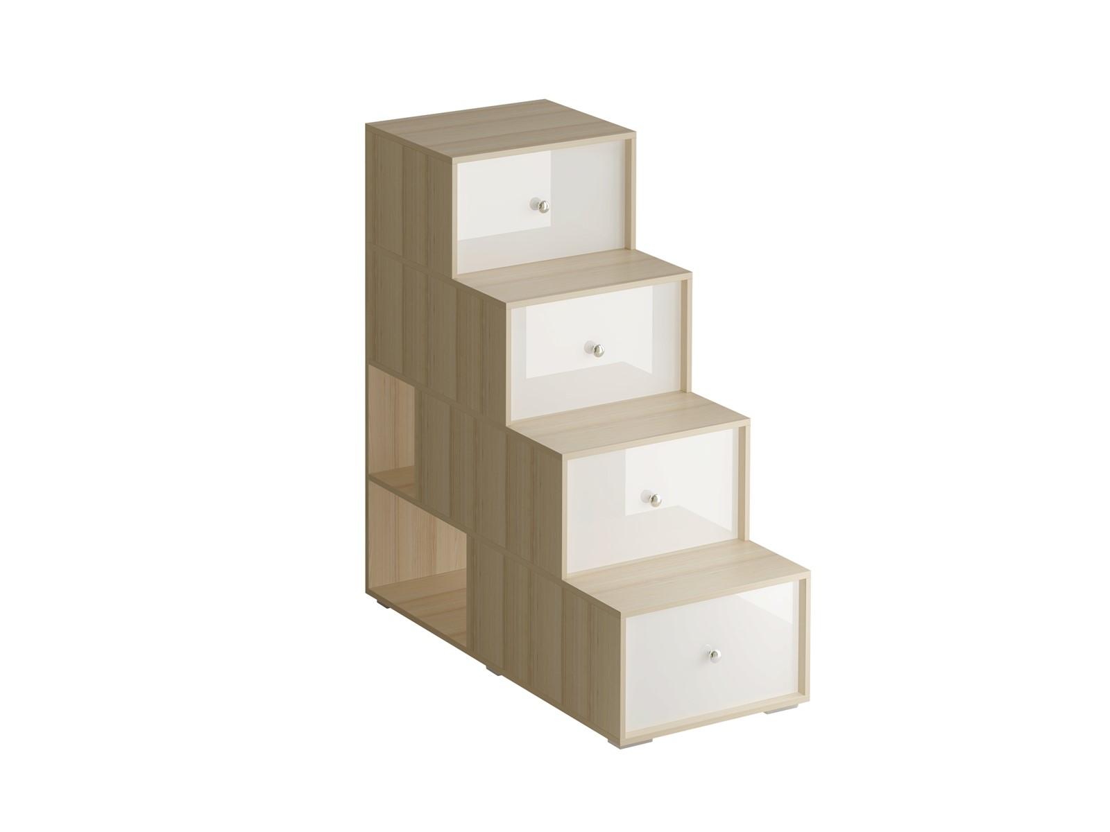 Лестница-комод PlayИнтерьерные комоды<br>Лестница-комод состоит из четырёх ступенек. Под ступеньками имеются отделения для хранения. Сбоку лестницы есть две открытые полки. Можно устанавливать и слева и справа от кровати.<br><br>Material: ДСП<br>Ширина см: 54<br>Высота см: 120<br>Глубина см: 113