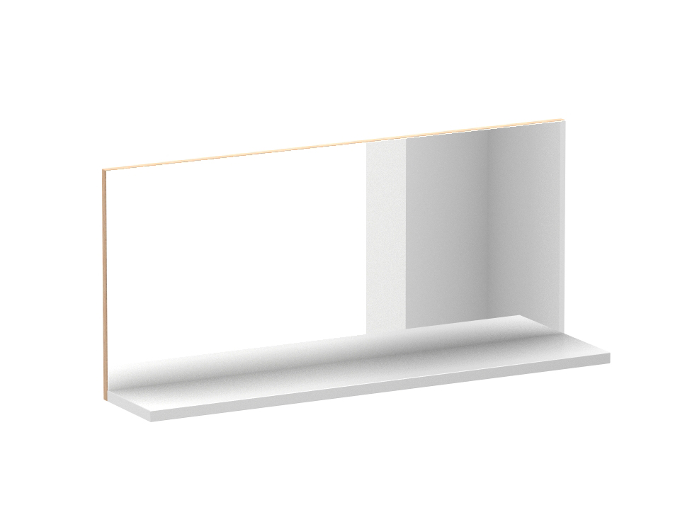 Зеркало StudioНастенные зеркала<br>Зеркало настенное с полкой. Полка изготовлена из ЛДСП 22 мм, белого цвета. Зеркало наклеено на щитовую основу в цвете «Дуб Файнлайн».<br><br>Material: ДСП<br>Width см: 100,2<br>Depth см: 20<br>Height см: 45