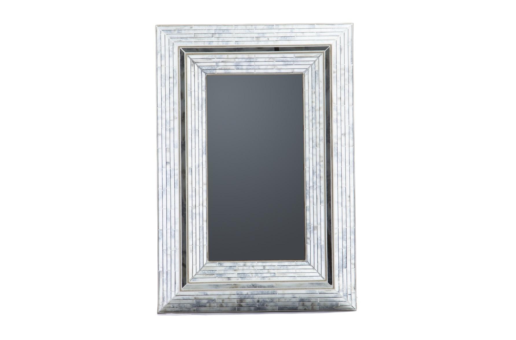 Зеркало в стиле арт-декоНастенные зеркала<br>Зеркало настенное прямоугольное в стиле арт-деко. Рама декорирована вставками из зеркального стекла.<br><br>Material: Стекло<br>Ширина см: 84<br>Высота см: 122<br>Глубина см: 10