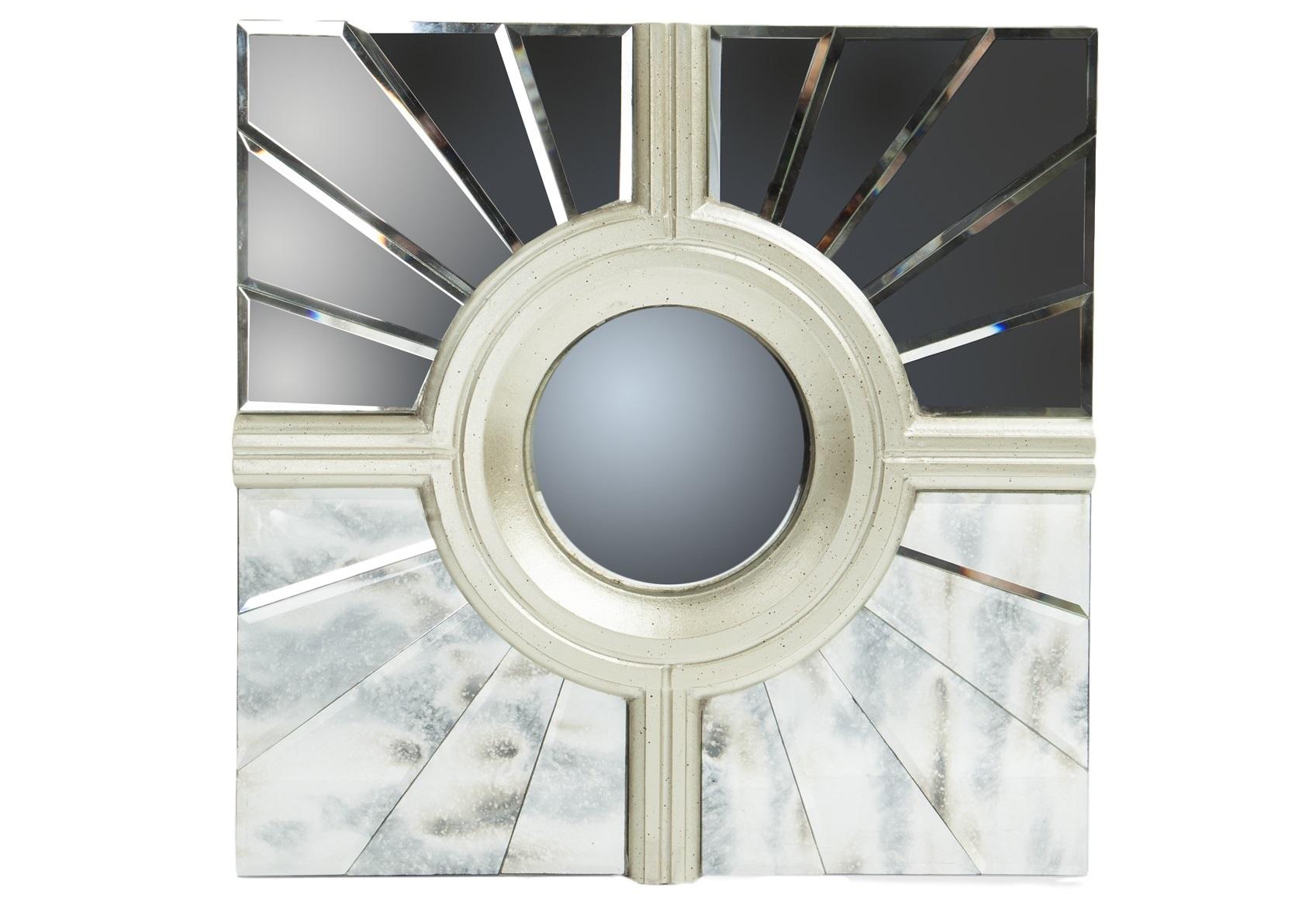 Зеркальный декорПанно<br>Настенный декор в квадратной раме, декорированной вставками из зеркального стекла. В центре круглое выпуклое зеркало.<br><br>Material: Стекло<br>Width см: 48<br>Depth см: 3<br>Height см: 48