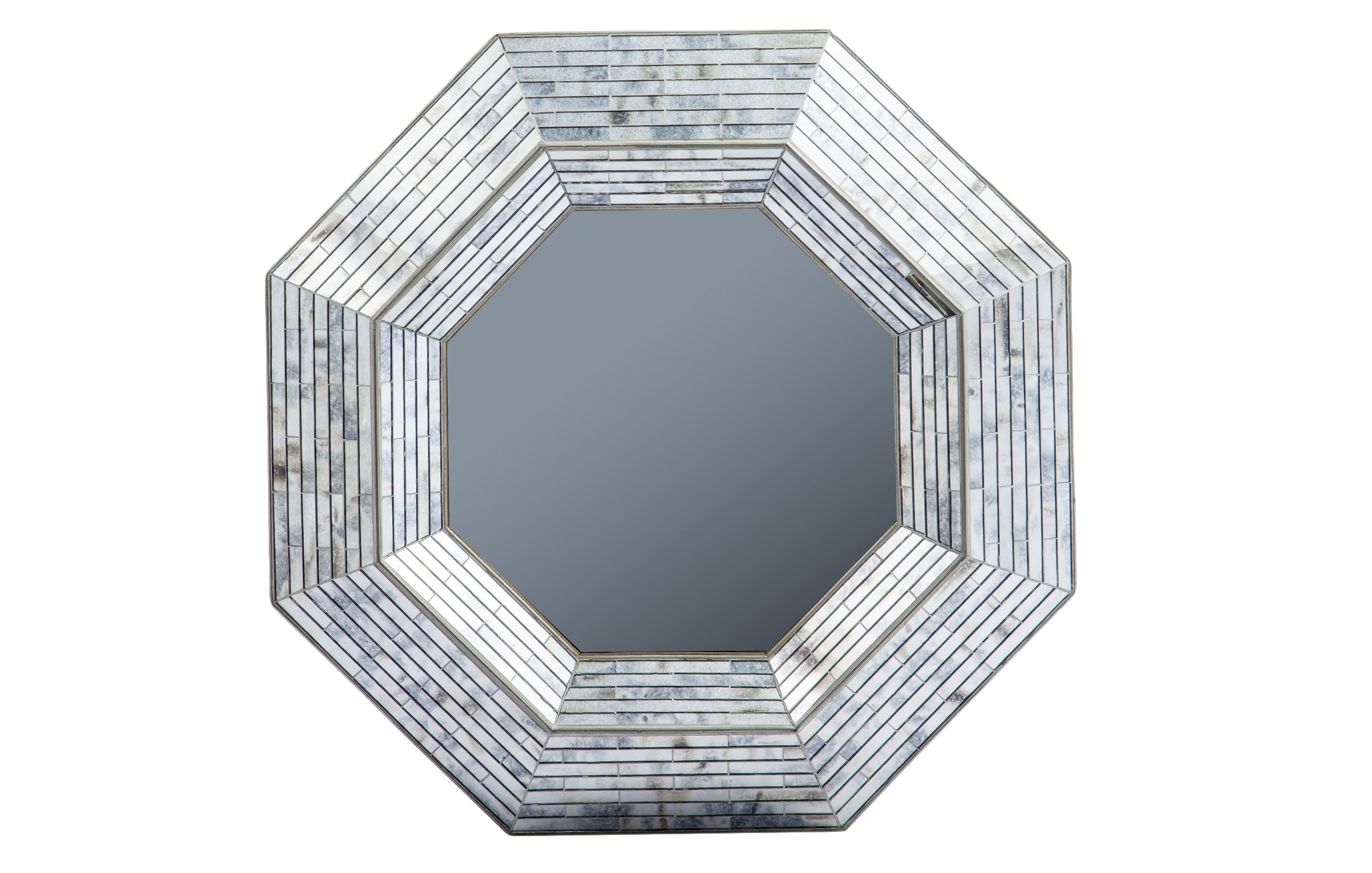Зеркало в стиле арт-декоНастенные зеркала<br>Зеркало в форме восьмиугольника в стиле арт-деко. Рама декорирована зеркальными вставками.<br><br>Material: Стекло<br>Ширина см: 100<br>Высота см: 100<br>Глубина см: 10