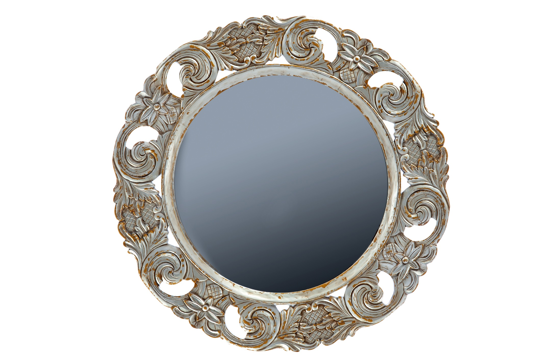 Зеркало «Барокко»Настенные зеркала<br>Круглое зеркало в стиле барокко, украшено резьбой и старением.<br><br>Material: Красное дерево<br>Diameter см: 110