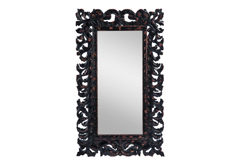 Зеркало «Барокко»Настенные зеркала<br>Зеркало прямоугольное в стиле барокко, украшено резьбой и старением.<br><br>Material: Красное дерево<br>Width см: 90<br>Height см: 150