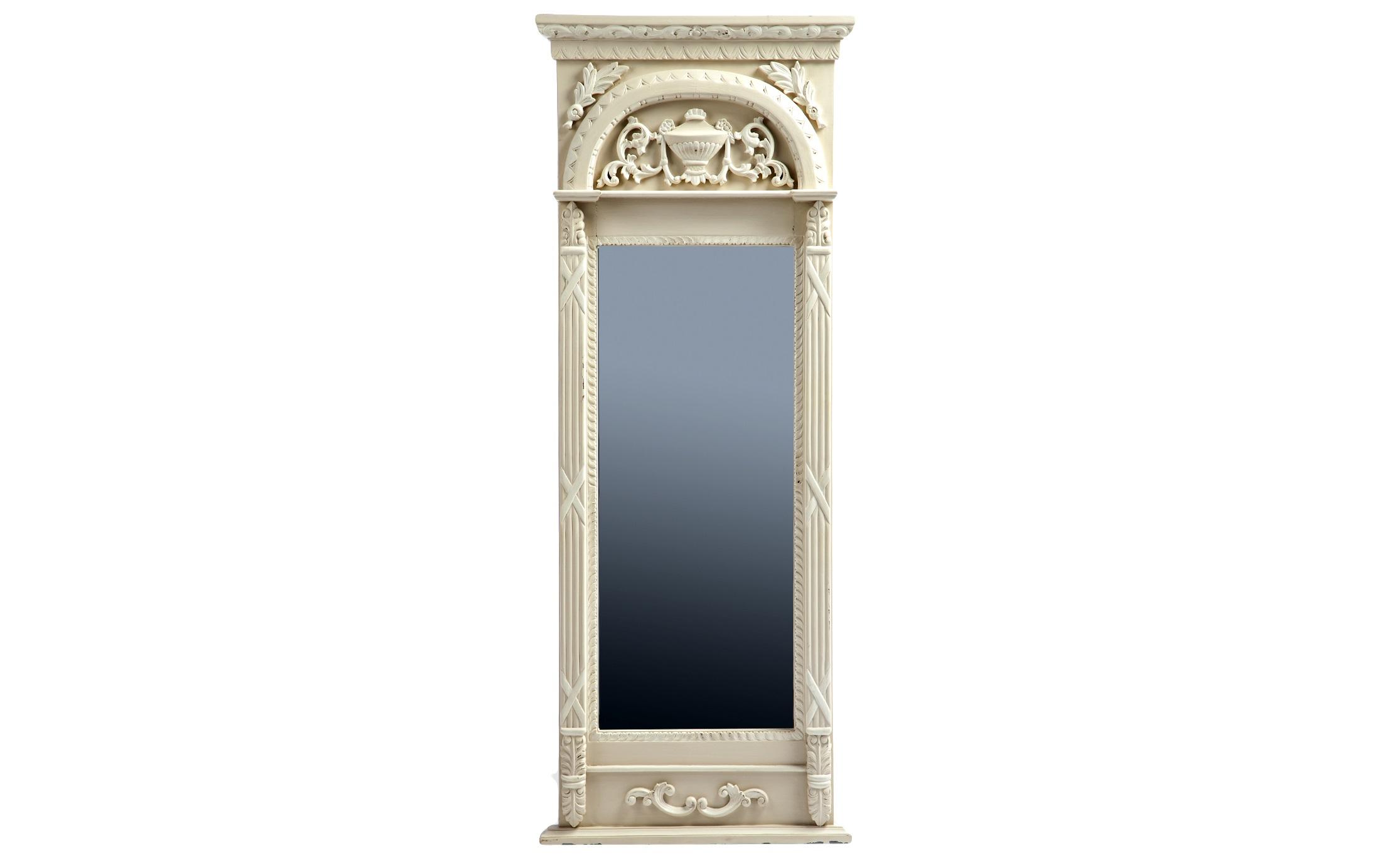 Зеркало ЛионНастенные зеркала<br>Зеркало в классическом стиле в раме из дерева махагони, украшенной резьбой с античным мотивом и старением.<br><br>Material: Красное дерево<br>Width см: 64<br>Depth см: 10<br>Height см: 167