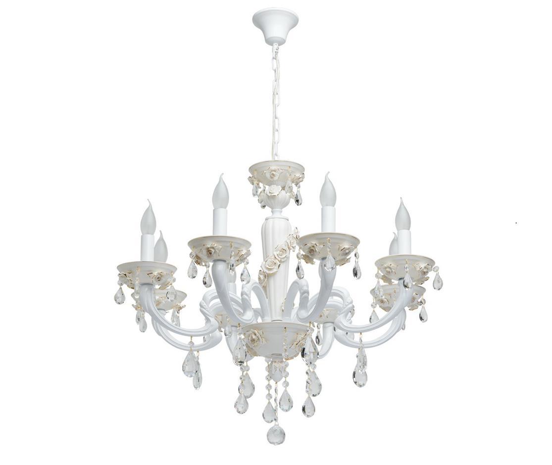 ЛюстраЛюстры подвесные<br>&amp;lt;div&amp;gt;Нежная и трогательная люстра MW-Light Нимфа готова освещать любую комнату, обстановка которой близка классике или элегантному стилю рококо. Металлическая арматура скрыта за белыми декоративными элементами, а украшают светильник цветы оттенка слоновой кости и хрустальные подвески. Лучшим окружением для этой модели будут драпировки кремового или молочного оттенка, картины в рамах, лепнина в соответствующем стиле. Необычный дизайн люстры из коллекции Нимфа, превращает этот стандартный предмет интерьера в воздушное творение, напоминающее одновременно и роскошный кремовый торт и удивительный цветок в саду. Основание сделано из металла белого цвета, придающего обстановке легкость, новизну, декорировано элементами из керамики. Нестандартная изогнутая форма рожка, рельефные цветочные элементы в виде роз, делают светильник по-своему нежным, эфирным, а подвесные гроздья из прозрачного хрусталя наполняют комнату сияющим мерцанием. Рекомендуемая площадь освещения порядка 24 кв.м.&amp;lt;/div&amp;gt;&amp;lt;div&amp;gt;&amp;lt;br&amp;gt;&amp;lt;/div&amp;gt;&amp;lt;div&amp;gt;Вид цоколя: Е14&amp;lt;/div&amp;gt;&amp;lt;div&amp;gt;Мощность: 60W&amp;lt;/div&amp;gt;&amp;lt;div&amp;gt;Количество ламп: 8 (нет в комплекте)&amp;lt;/div&amp;gt;<br><br>Material: Металл<br>Height см: 80<br>Diameter см: 78