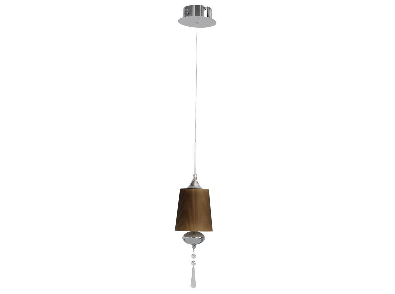Светильник подвеснойПодвесные светильники<br>Металлическое основание цвета хрома, стеклянный плафон кофейного оттенка, подвеска из хрусталя<br><br>Эффектная цветовая гамма, простые формы и минималистичный декор отличают светильники из коллекции «Фьюжен». Хромированное металлическое основание гармонично сочетается со стеклянными плафонами насыщенного кофейного оттенка, соединенными с основанием тонкими нитями. Оригинальный хрустальный декор освежает композицию и придает дополнительную изысканность и элегантность.&amp;lt;div&amp;gt;&amp;lt;div&amp;gt;&amp;lt;br&amp;gt;&amp;lt;/div&amp;gt;&amp;lt;div&amp;gt;Вид цоколя: G4&amp;lt;/div&amp;gt;&amp;lt;div&amp;gt;Мощность: 20W&amp;lt;/div&amp;gt;&amp;lt;div&amp;gt;Количество ламп: 1&amp;lt;/div&amp;gt;&amp;lt;/div&amp;gt;&amp;lt;div&amp;gt;Материал: Стекло, металл&amp;lt;br&amp;gt;&amp;lt;/div&amp;gt;<br><br>Material: Металл<br>Высота см: 140