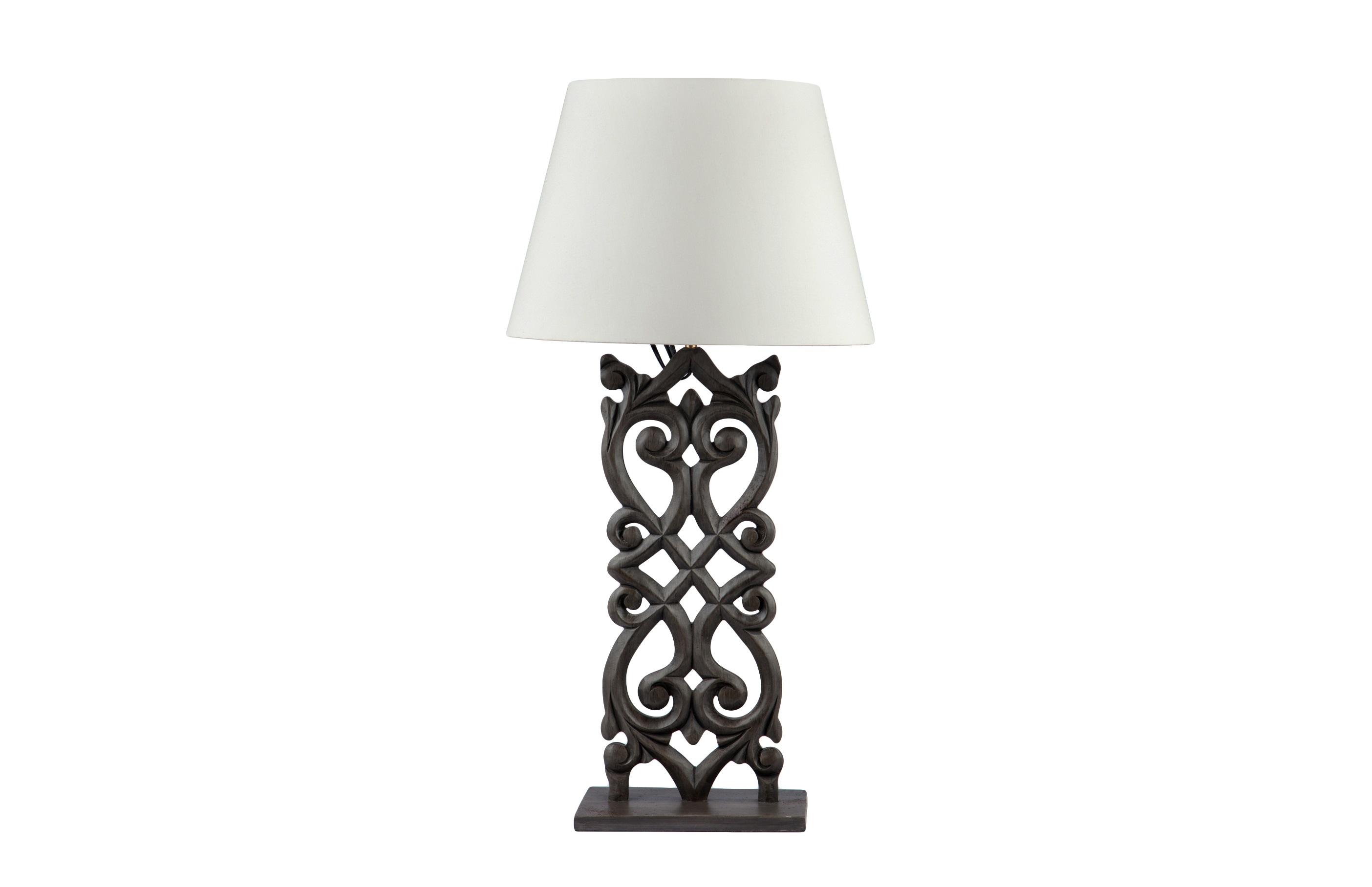 Лампа настольнаяДекоративные лампы<br>Лампа настольная на резной ножке из дерева махагони, окрашенной под состаренный металл, светлый абажур.<br><br>Material: Красное дерево<br>Width см: 25<br>Depth см: 15<br>Height см: 60
