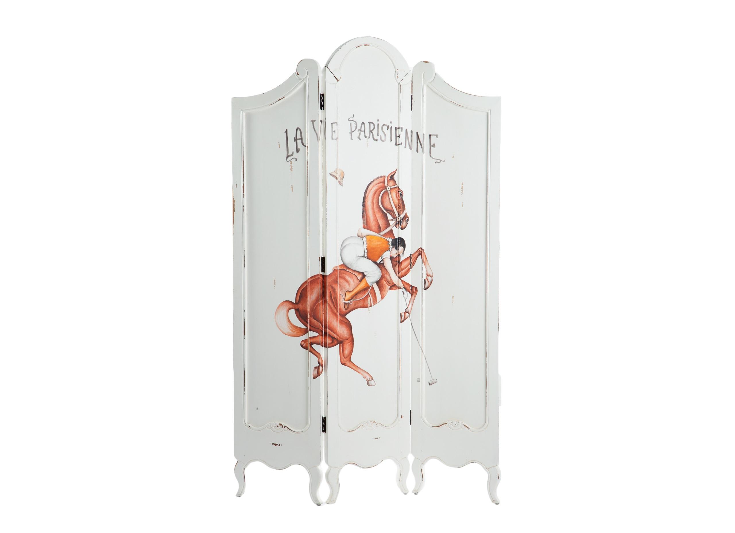 ШирмаШирмы<br>Ширма из трех створок из дерева махагони, украшена росписью ручной работы (рисунок La vie parisienne) и старением.<br><br>Material: Красное дерево<br>Width см: 120<br>Depth см: 3<br>Height см: 190
