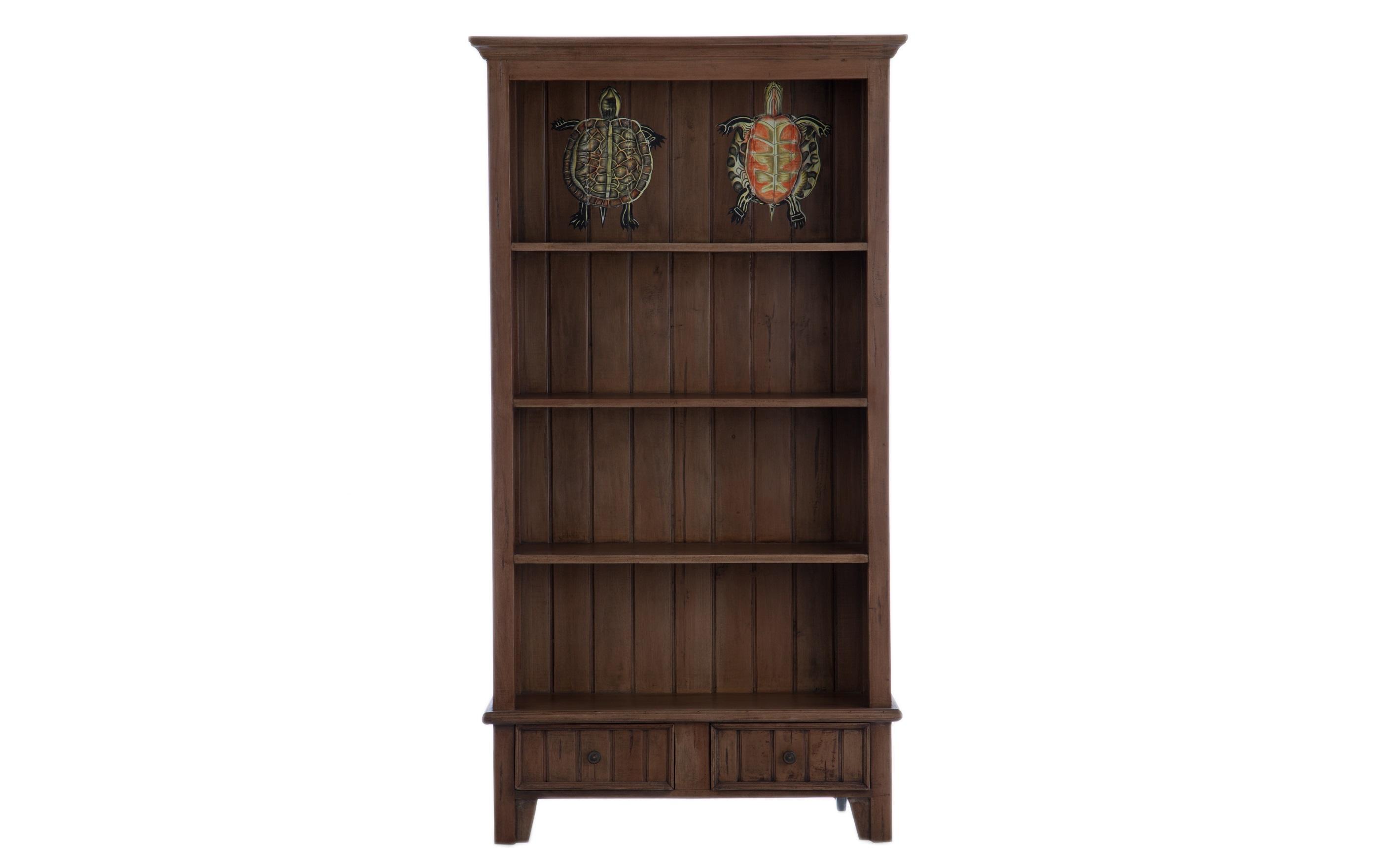 Книжный шкафКнижные шкафы и библиотеки<br>Книжный шкаф из дерева махагони с полками и выдвижными ящиками, декорирован росписью ручной работы.<br><br>Material: Красное дерево<br>Width см: 98<br>Depth см: 34<br>Height см: 181